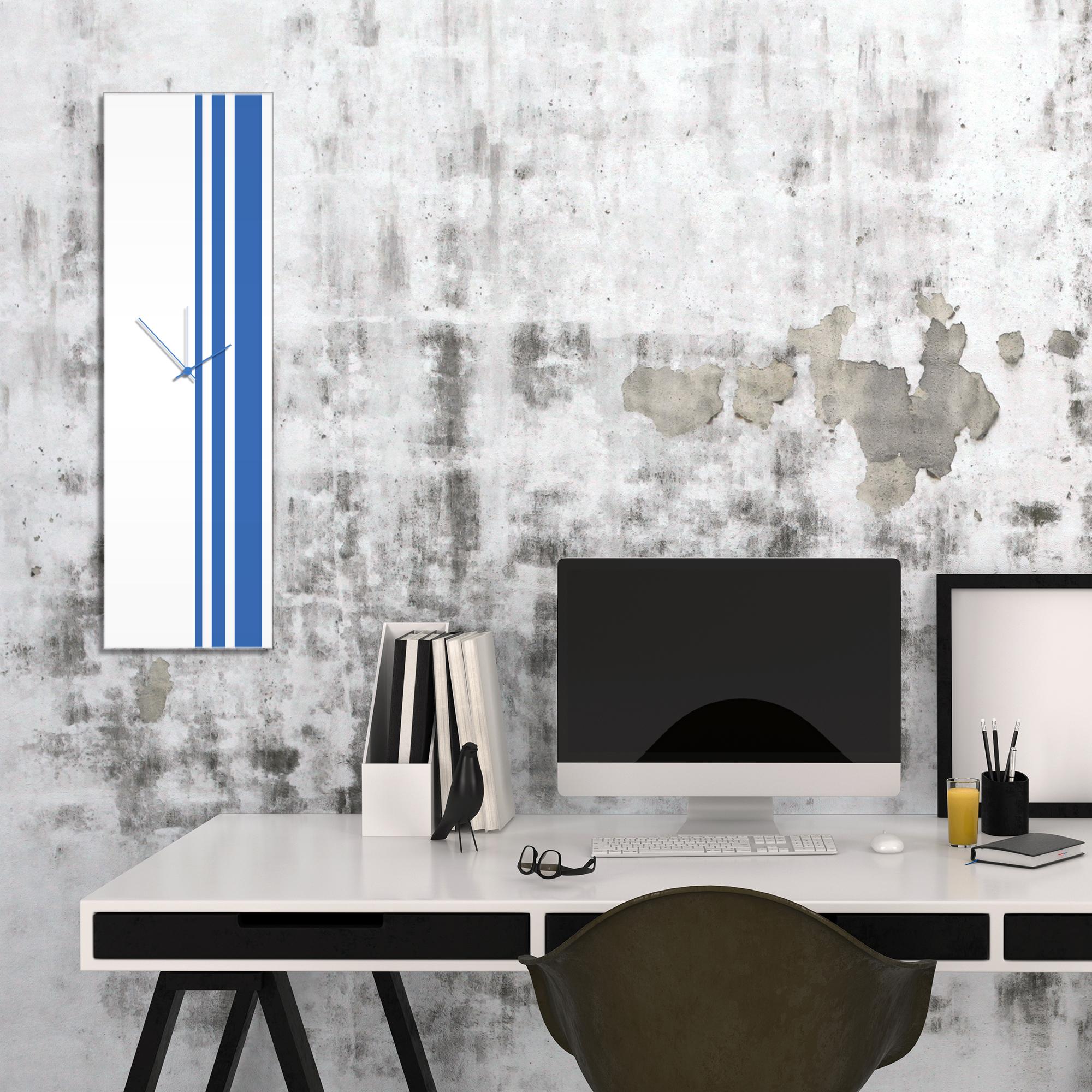 Blue Triple Stripe Clock by Adam Schwoeppe Large Modern Clock on Acrylic - Alternate View 1
