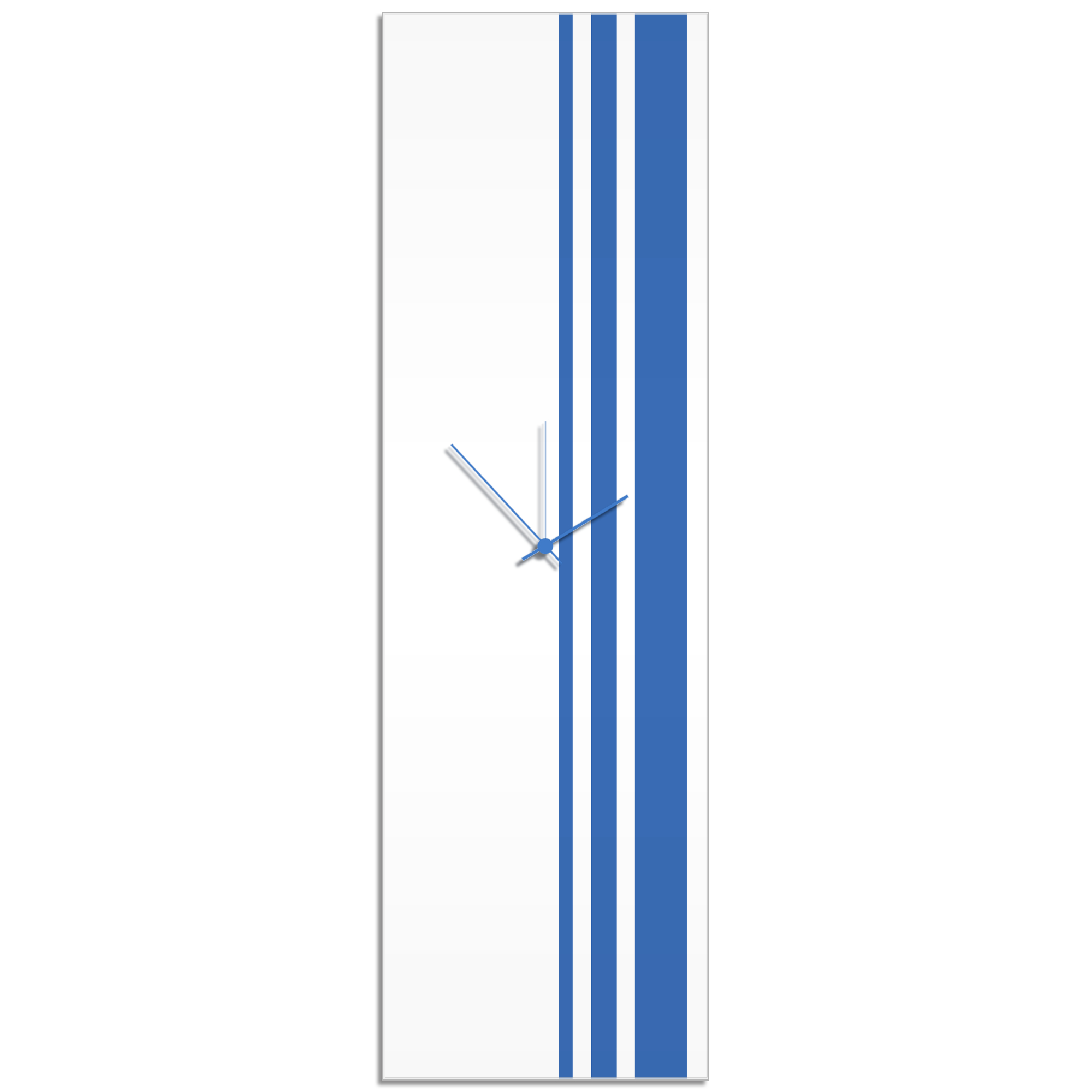 Blue Triple Stripe Clock by Adam Schwoeppe Large Modern Clock on Acrylic