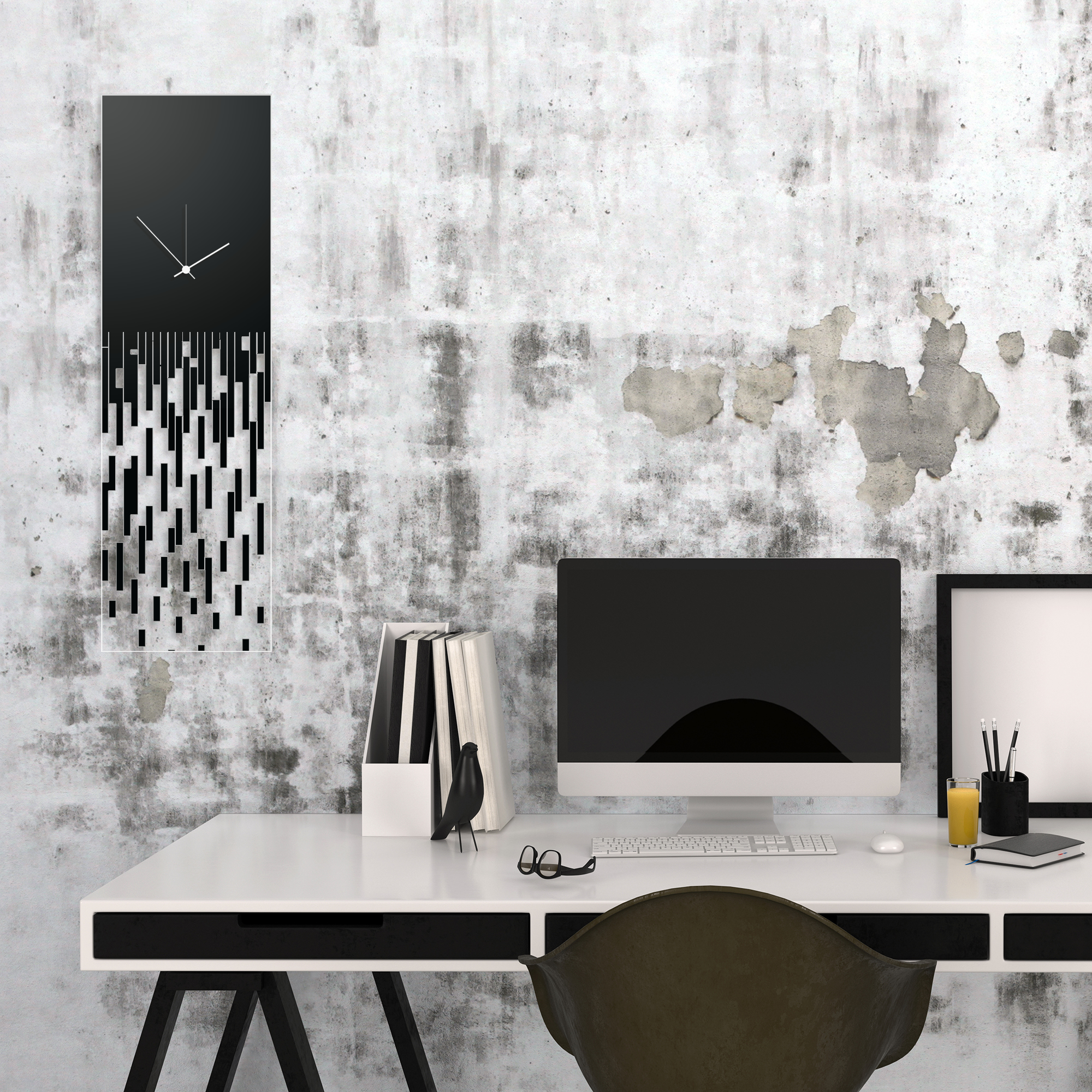 Black Pixelated Clock by Adam Schwoeppe Surreal Wall Clock on Acrylic - Alternate View 1