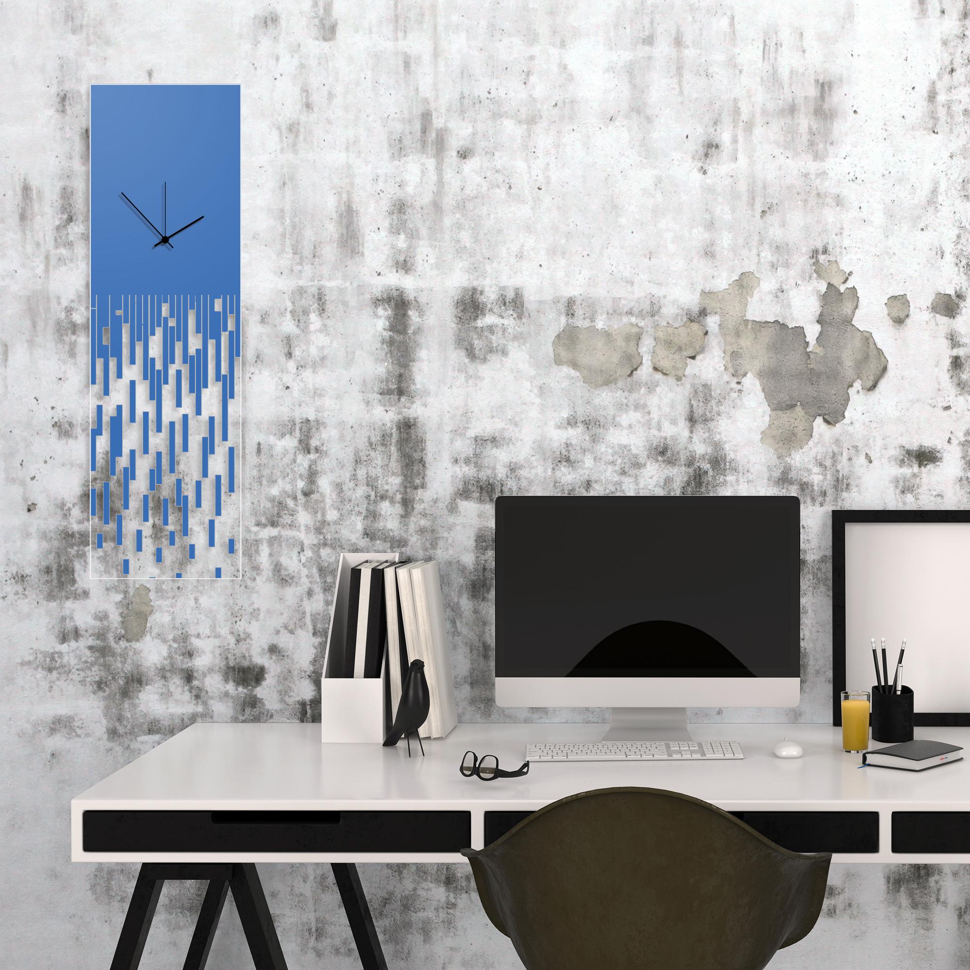 Blue Pixelated Clock by Adam Schwoeppe Surreal Wall Clock on Acrylic - Alternate View 1