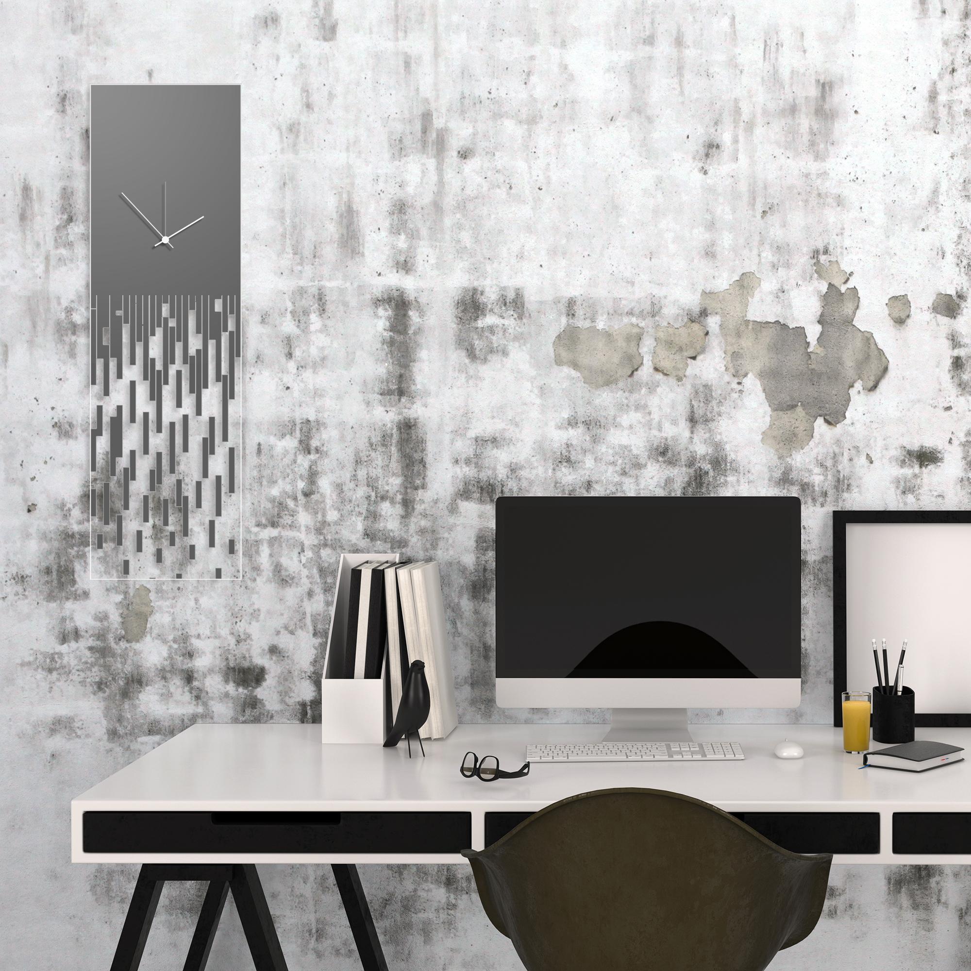 Grey Pixelated Clock by Adam Schwoeppe Surreal Wall Clock on Acrylic - Alternate View 1