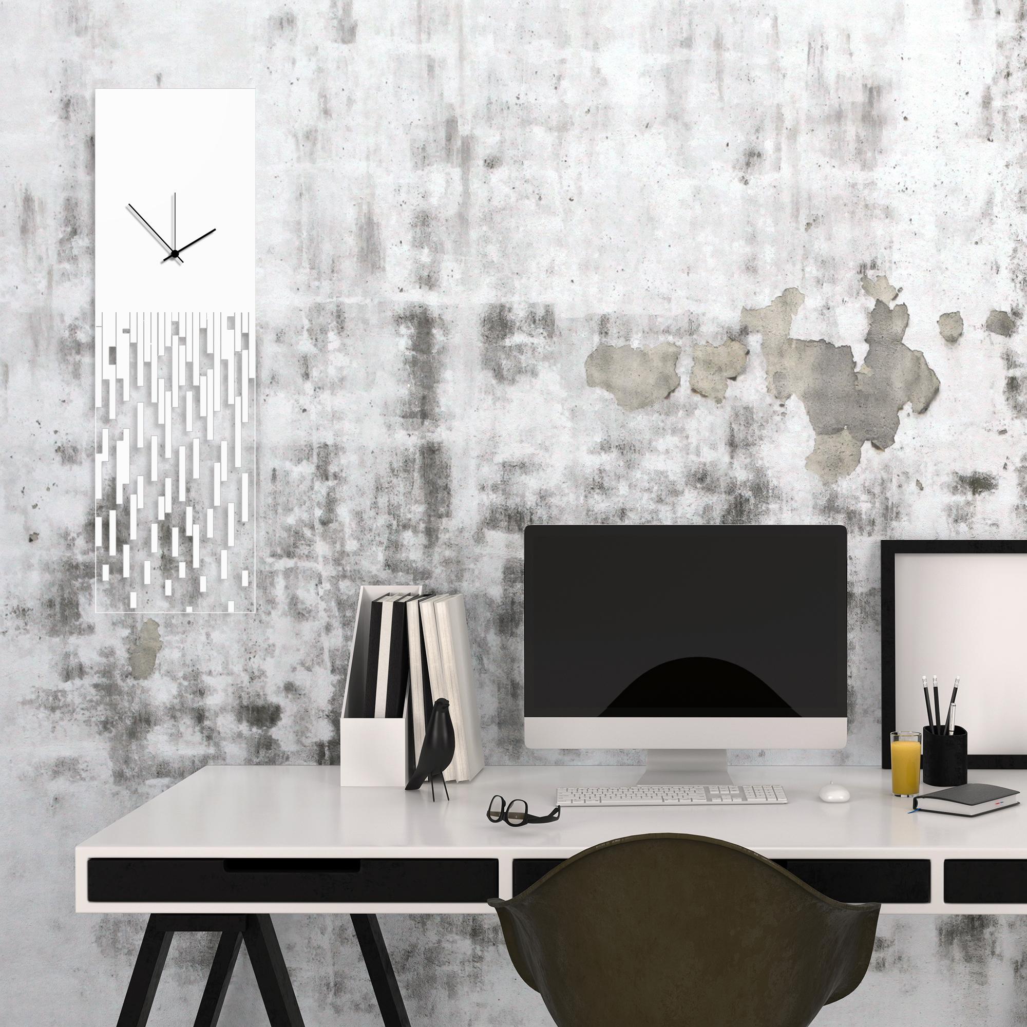 White Pixelated Clock by Adam Schwoeppe Surreal Wall Clock on Acrylic - Alternate View 1