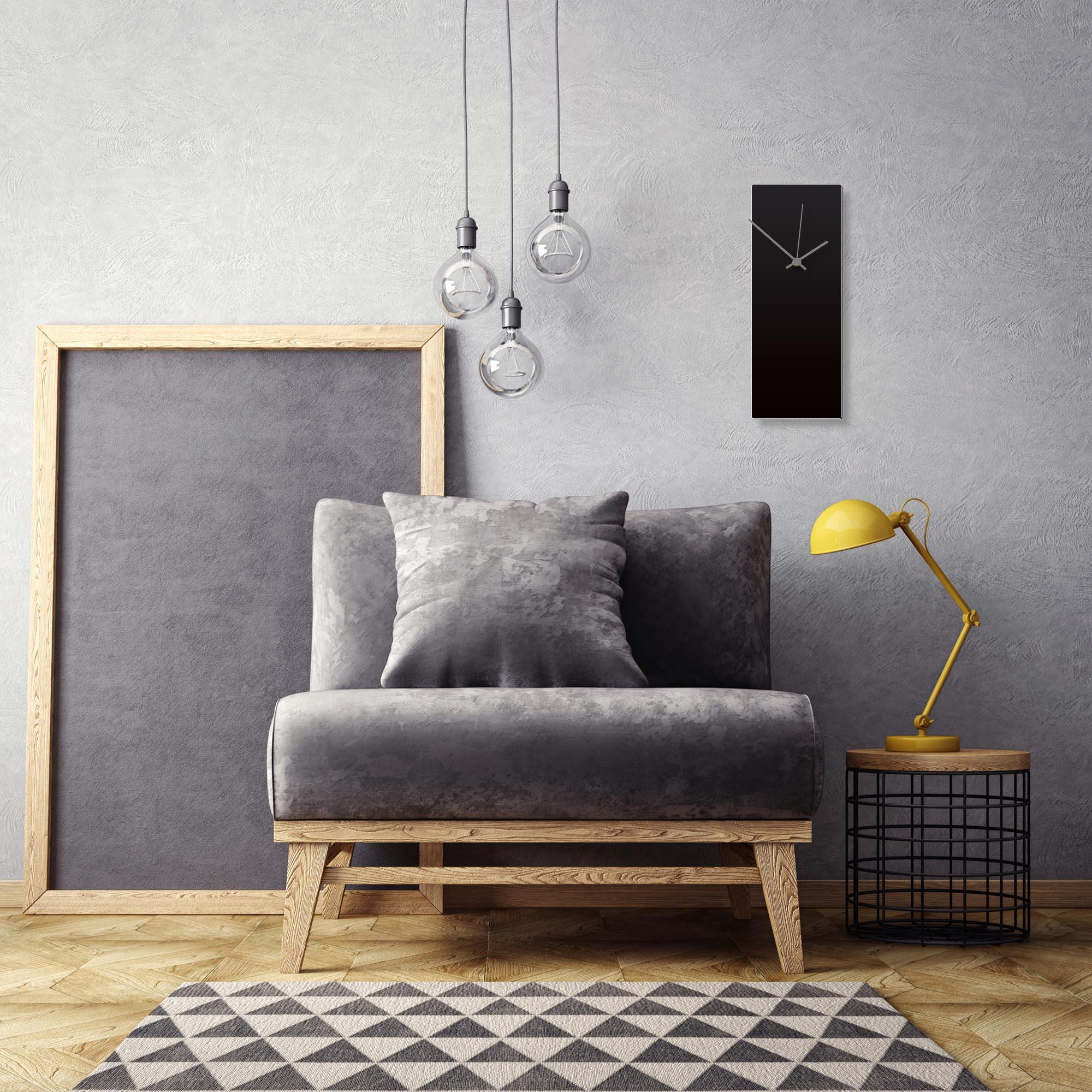 Blackout Grey Clock by Adam Schwoeppe Contemporary Clock on Aluminum Polymetal - Alternate View 1