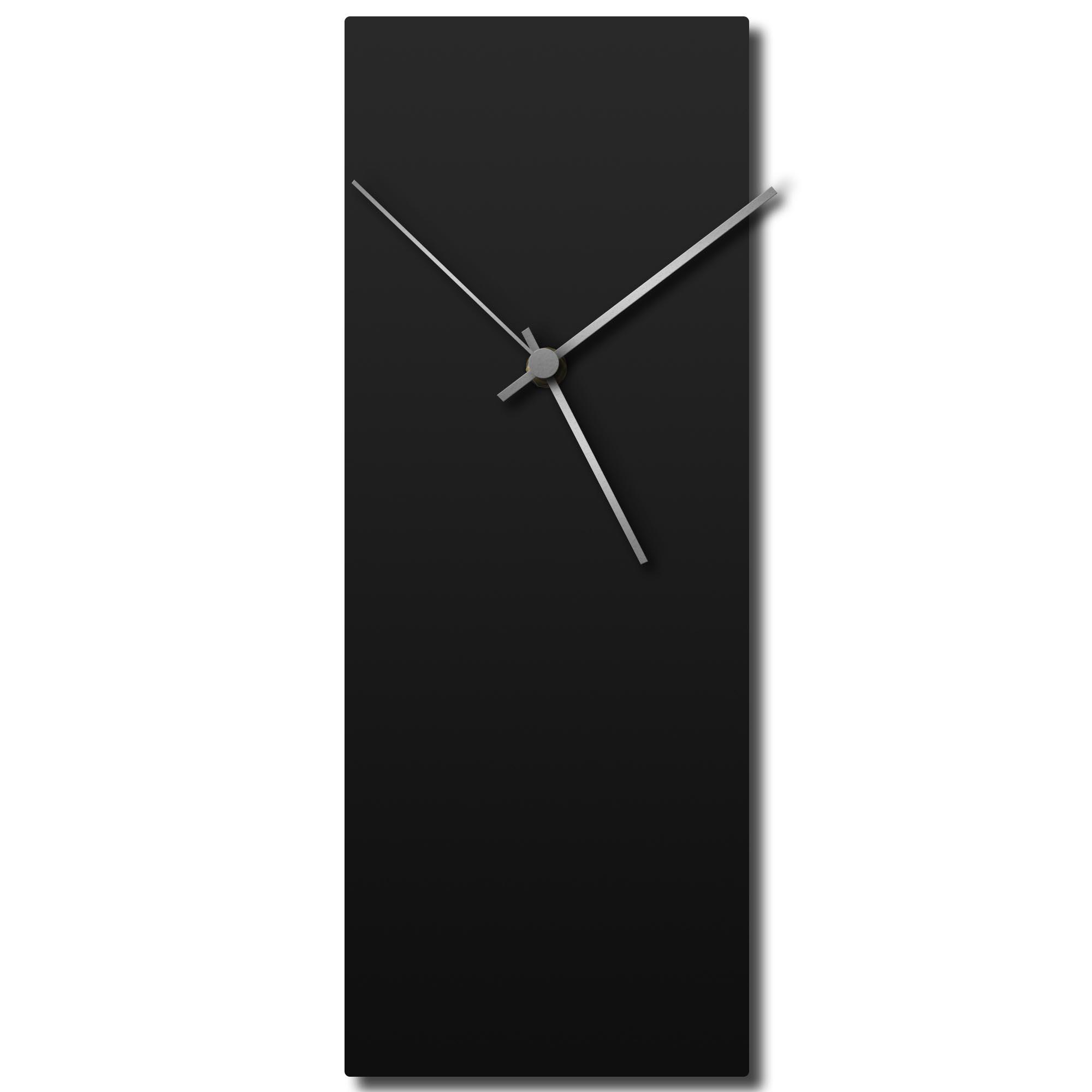 Adam Schwoeppe 'Blackout Silver Clock' Midcentury Modern Style Wall Clock