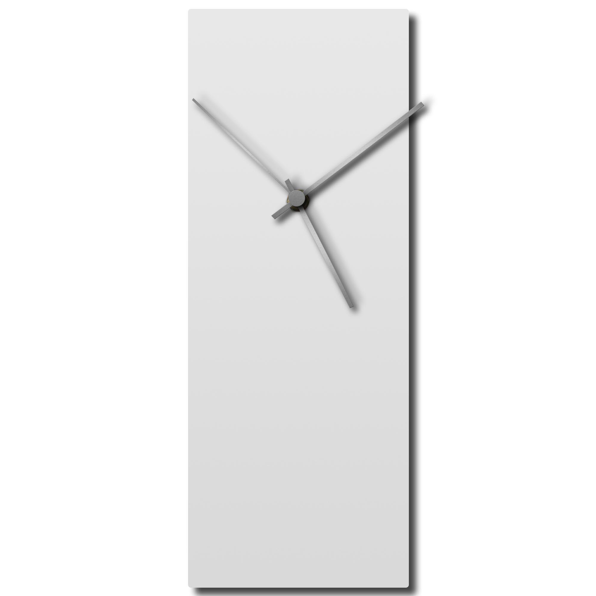 Adam Schwoeppe 'Whiteout Silver Clock Large' Midcentury Modern Style Wall Clock