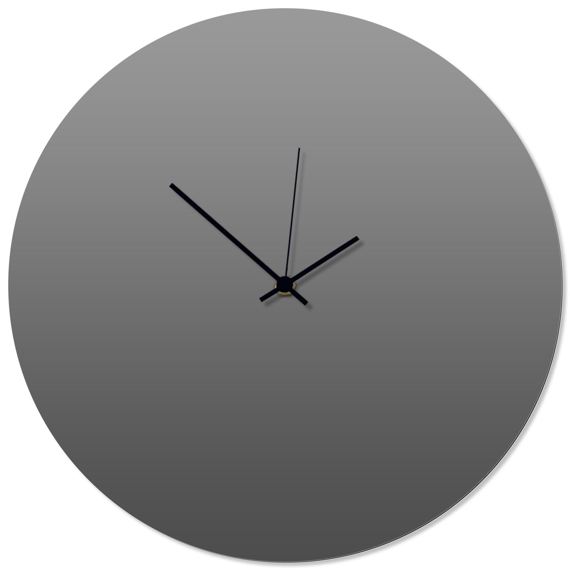 Grayout Black Circle Clock 16x16in. Aluminum Polymetal