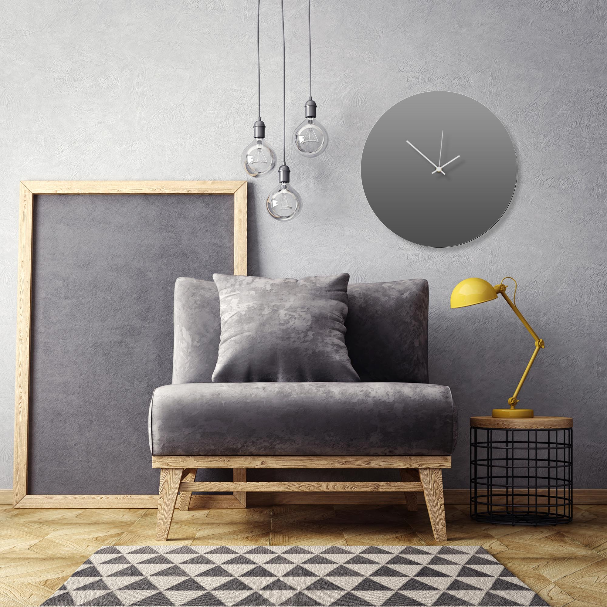 Grayout White Circle Clock Large by Adam Schwoeppe Contemporary Clock on Aluminum Polymetal - Alternate View 1
