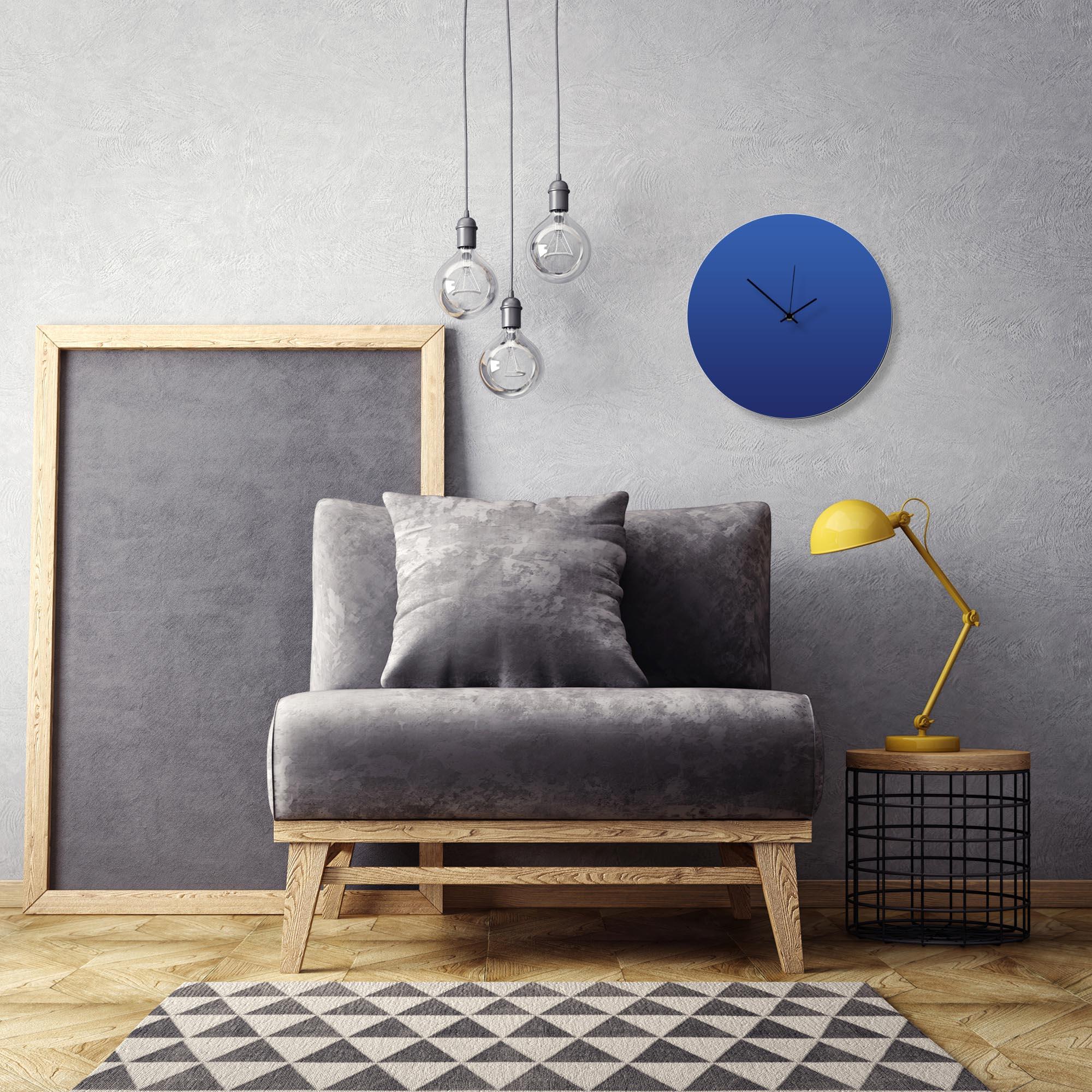 Blueout Black Circle Clock by Adam Schwoeppe Contemporary Clock on Aluminum Polymetal - Alternate View 1