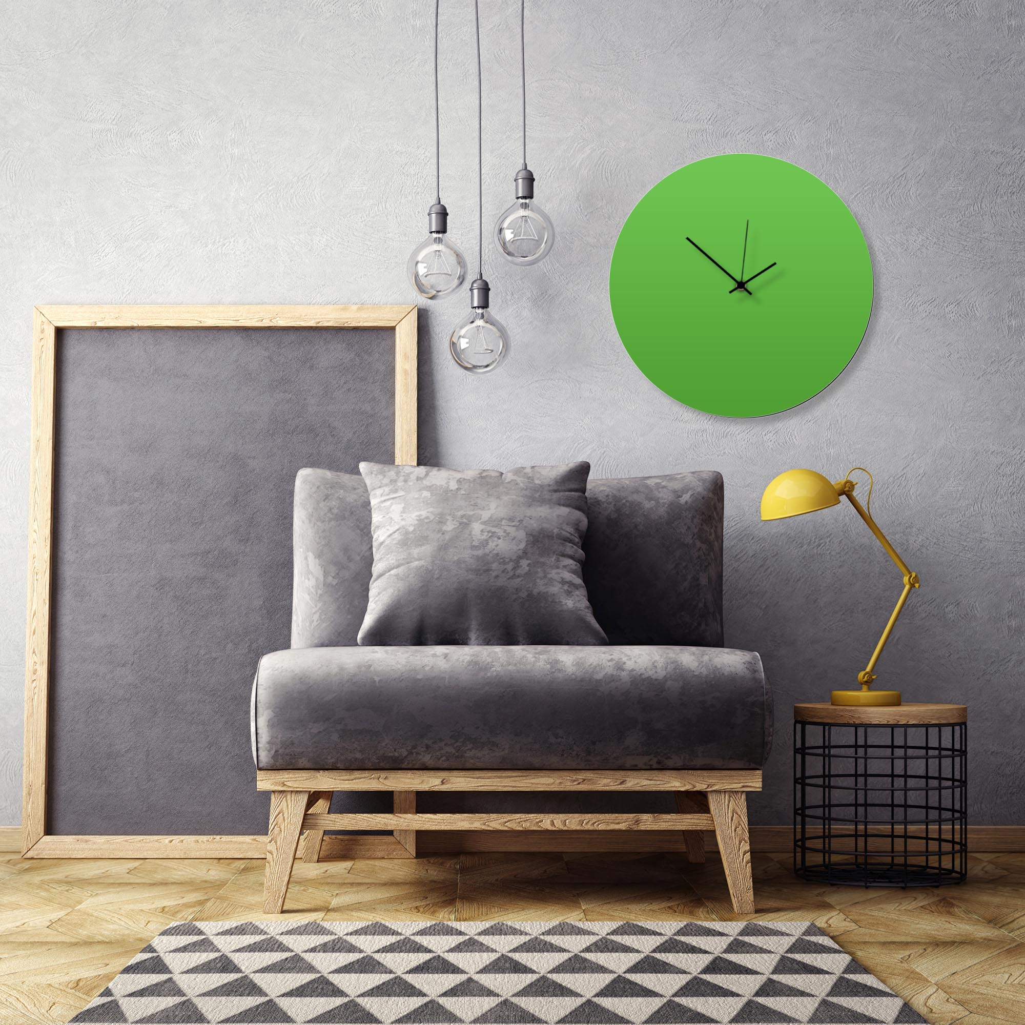 Greenout Black Circle Clock Large by Adam Schwoeppe Contemporary Clock on Aluminum Polymetal - Alternate View 1