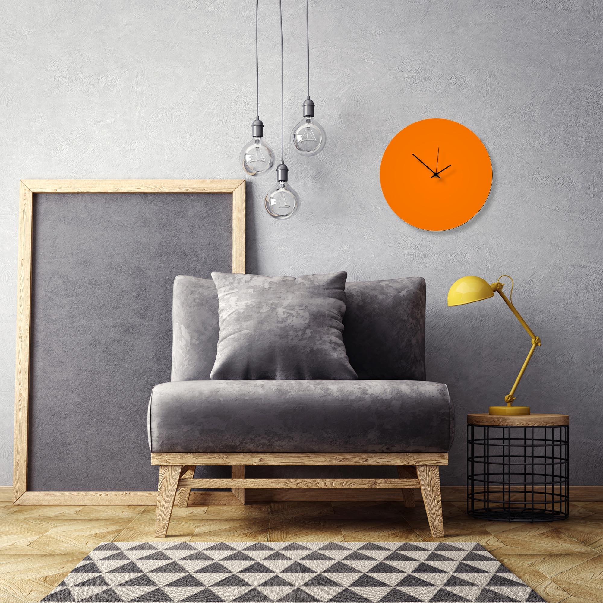Orangeout Black Circle Clock by Adam Schwoeppe Contemporary Clock on Aluminum Polymetal - Alternate View 1