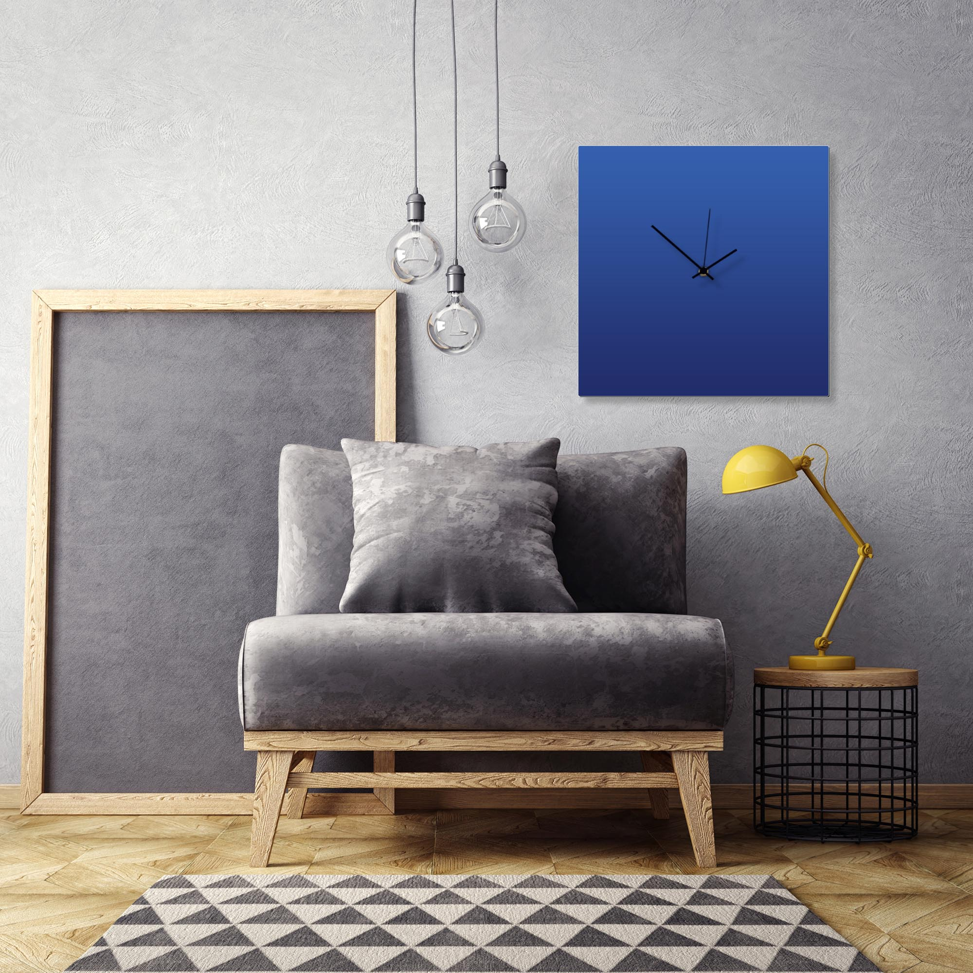 Blueout Black Square Clock Large by Adam Schwoeppe Contemporary Clock on Aluminum Polymetal - Alternate View 1