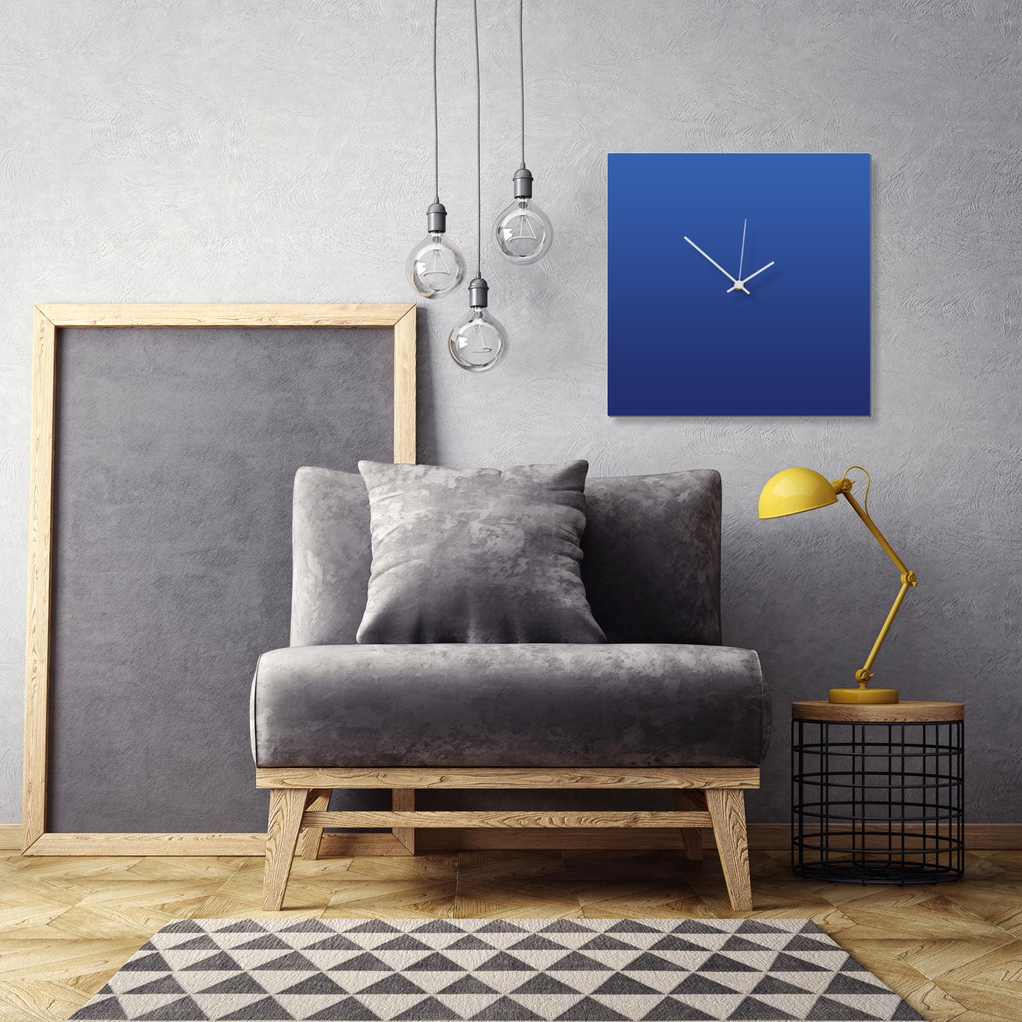 Blueout White Square Clock Large by Adam Schwoeppe Contemporary Clock on Aluminum Polymetal - Alternate View 1