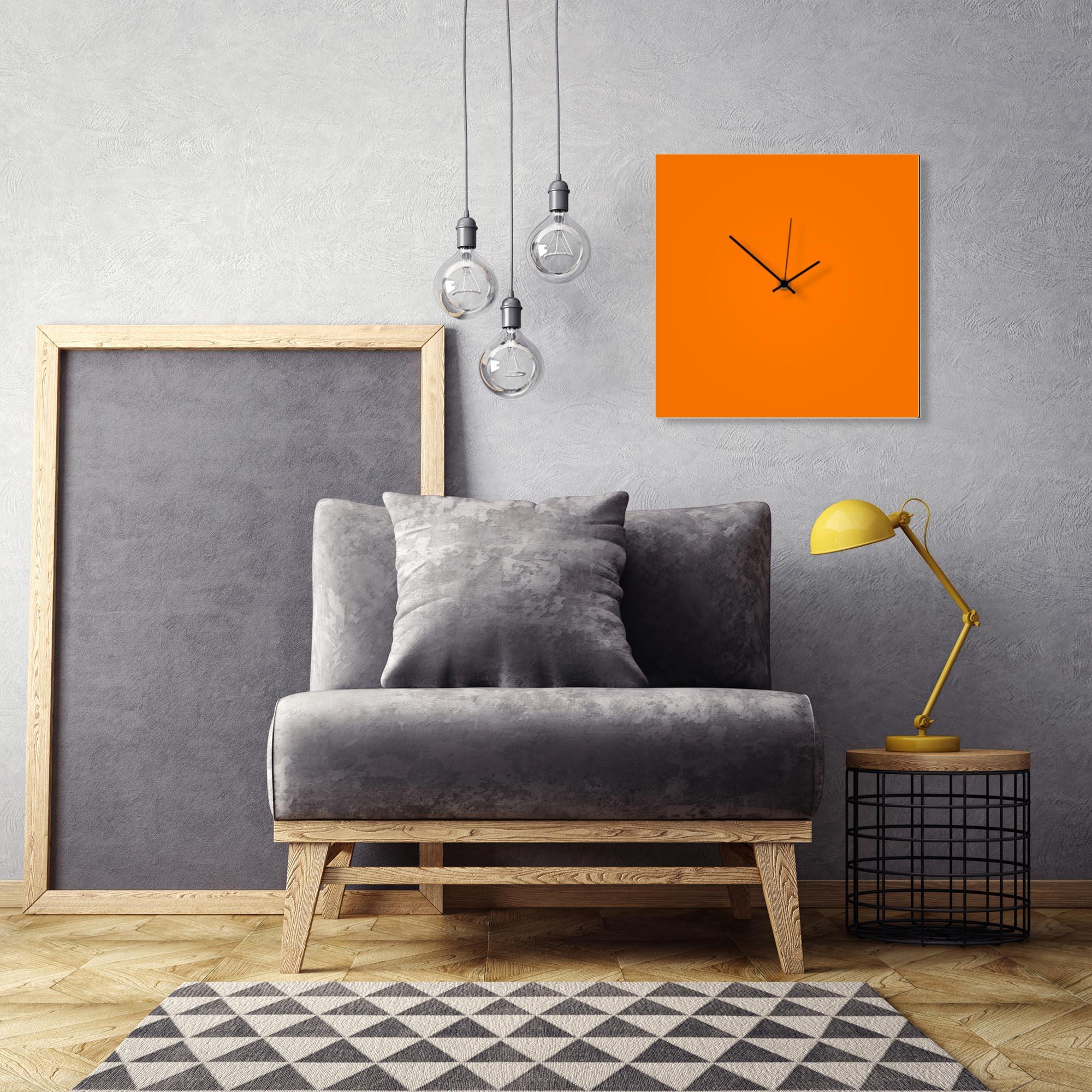 Orangeout Black Square Clock Large by Adam Schwoeppe Contemporary Clock on Aluminum Polymetal - Alternate View 1