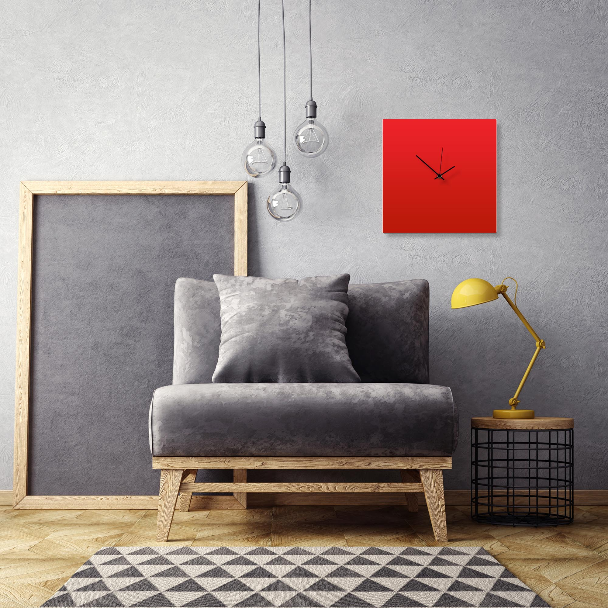 Redout Black Square Clock by Adam Schwoeppe Contemporary Clock on Aluminum Polymetal - Alternate View 1