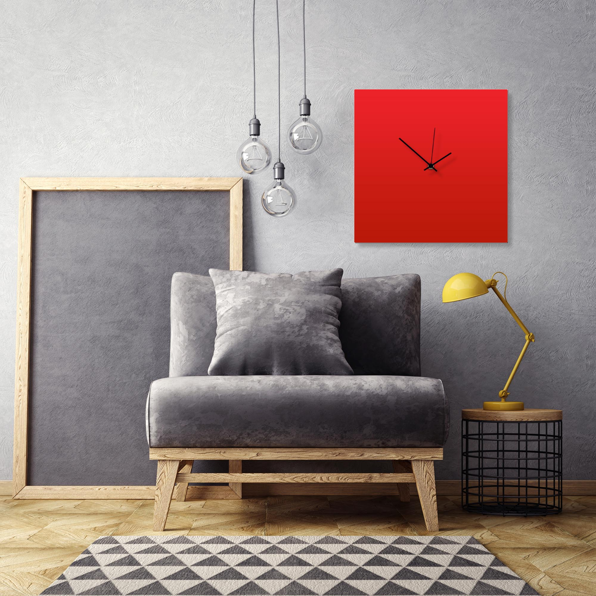 Redout Black Square Clock Large by Adam Schwoeppe Contemporary Clock on Aluminum Polymetal - Alternate View 1