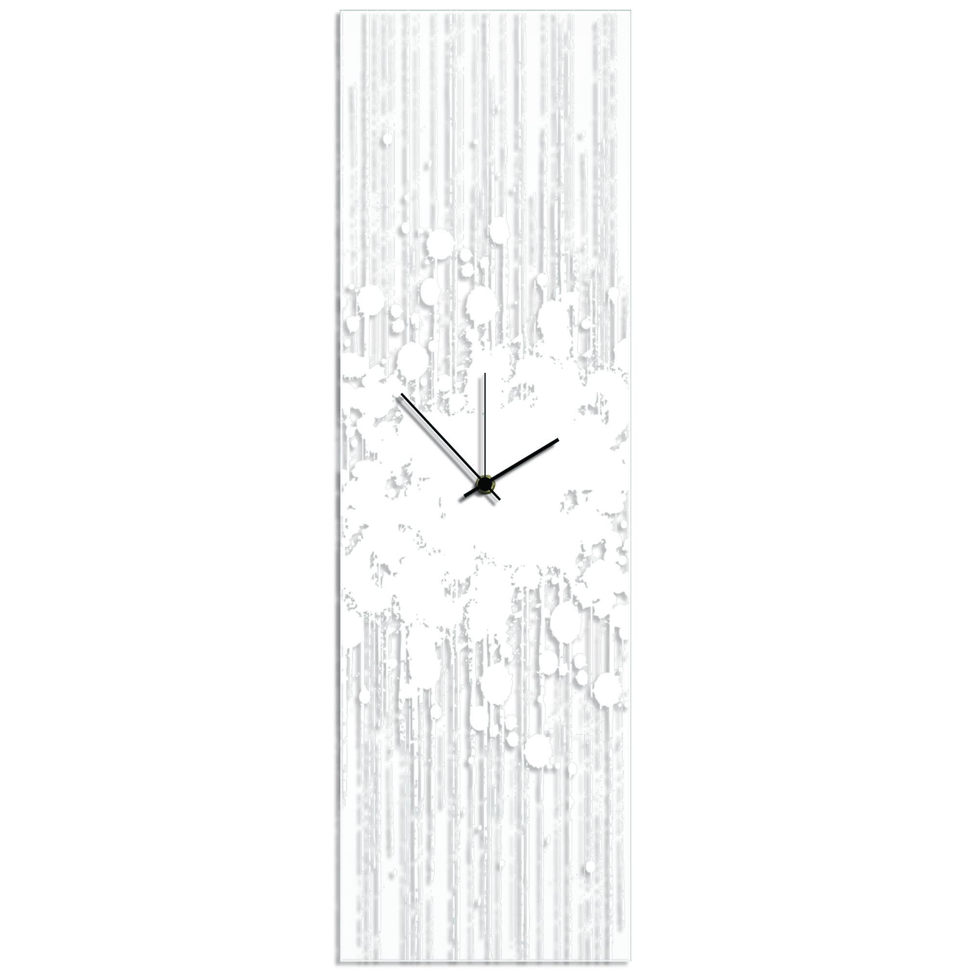 White Paint Splatter Clock 9x30in. Plexiglass