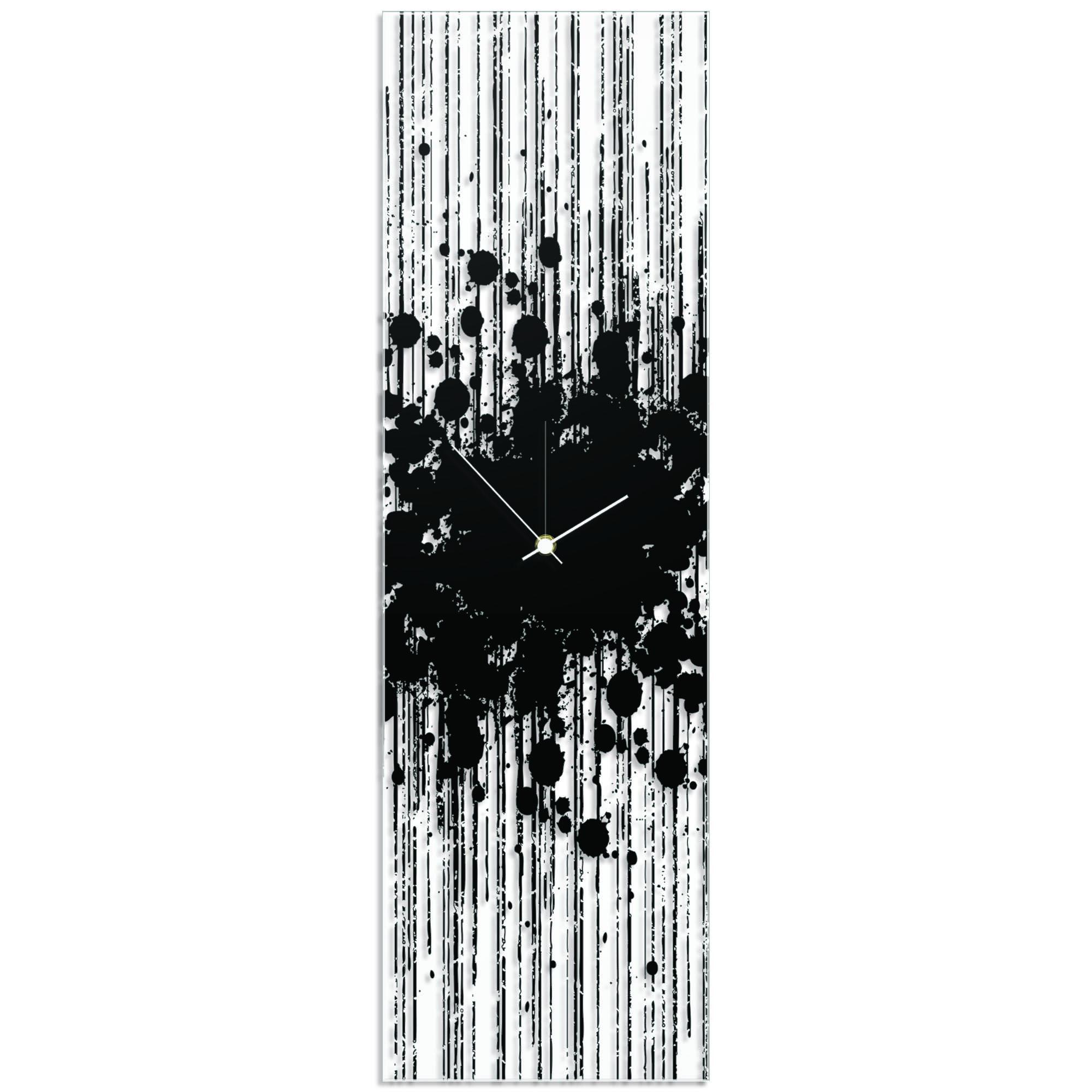 Black Paint Splatter Clock 9x30in. Plexiglass