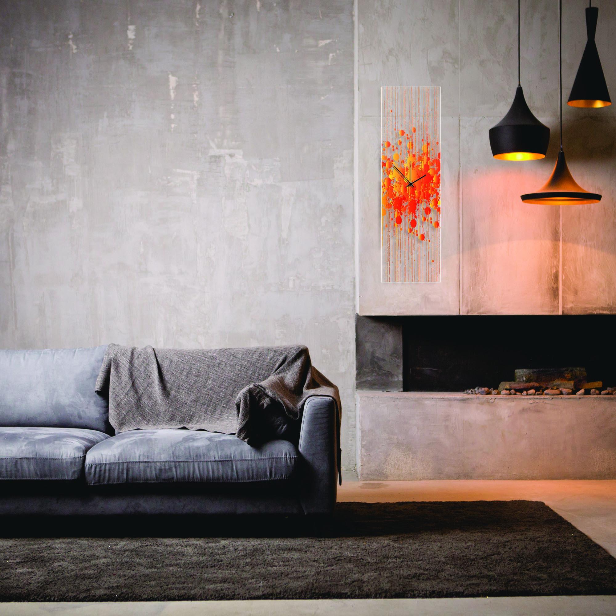 Warm Paint Splatter Clock by Adam Schwoeppe Contemporary Decor on Plexiglass - Lifestyle View