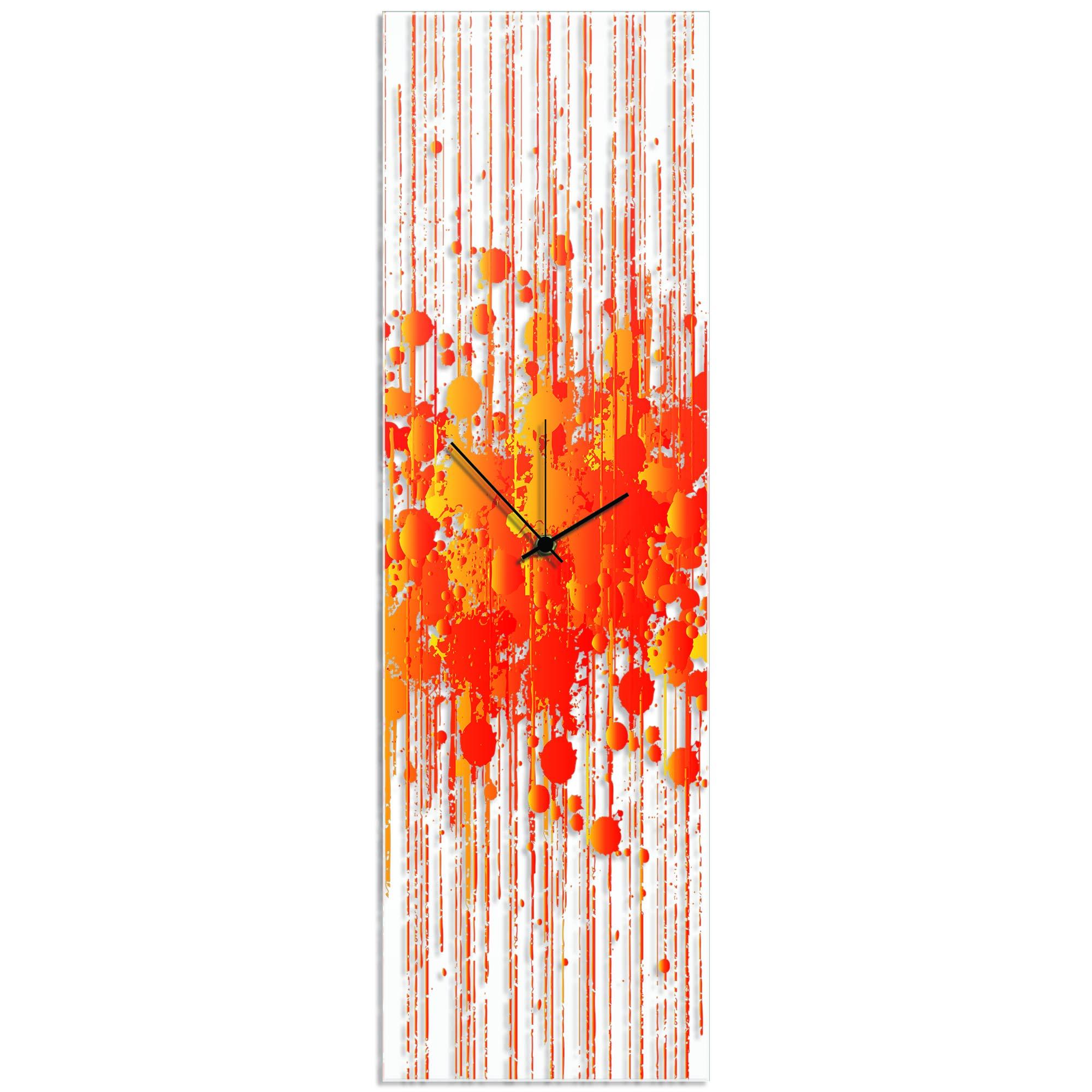 Warm Paint Splatter Clock 9x30in. Plexiglass
