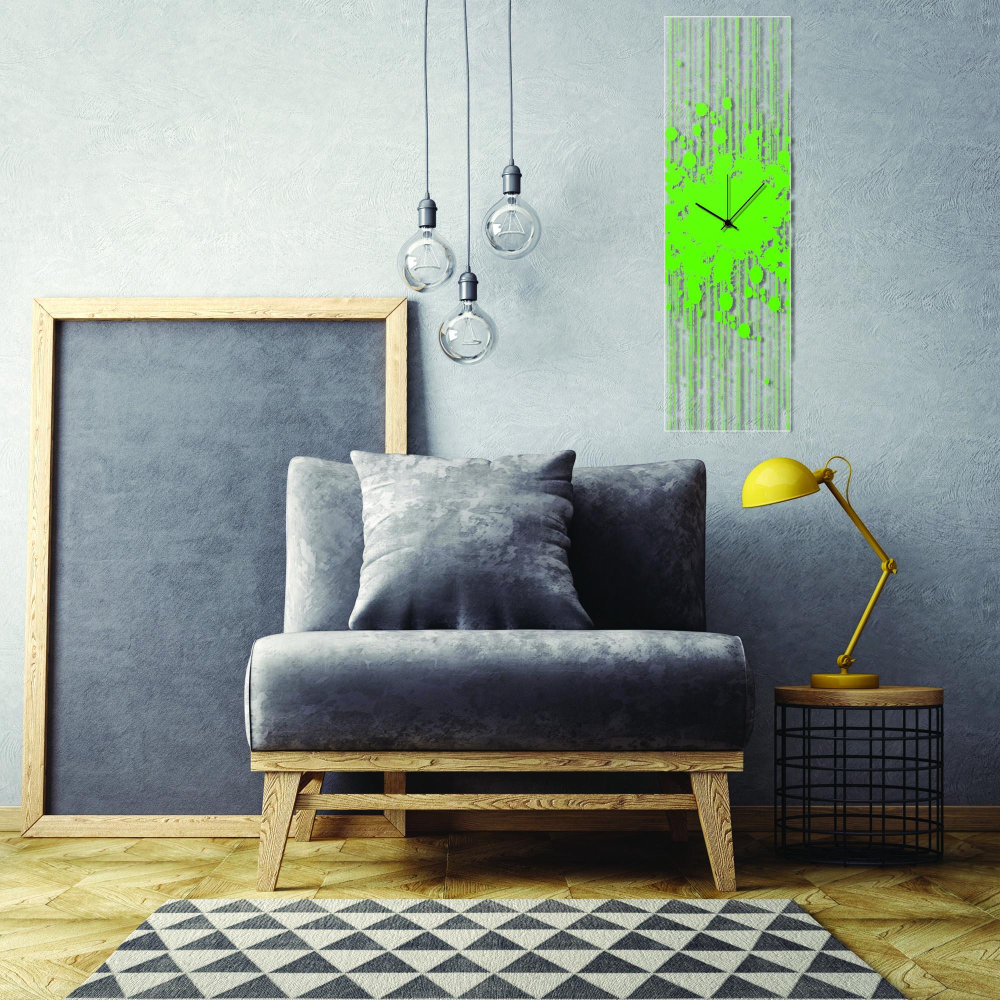 Green Paint Splatter Clock by Adam Schwoeppe Contemporary Decor on Plexiglass - Lifestyle View