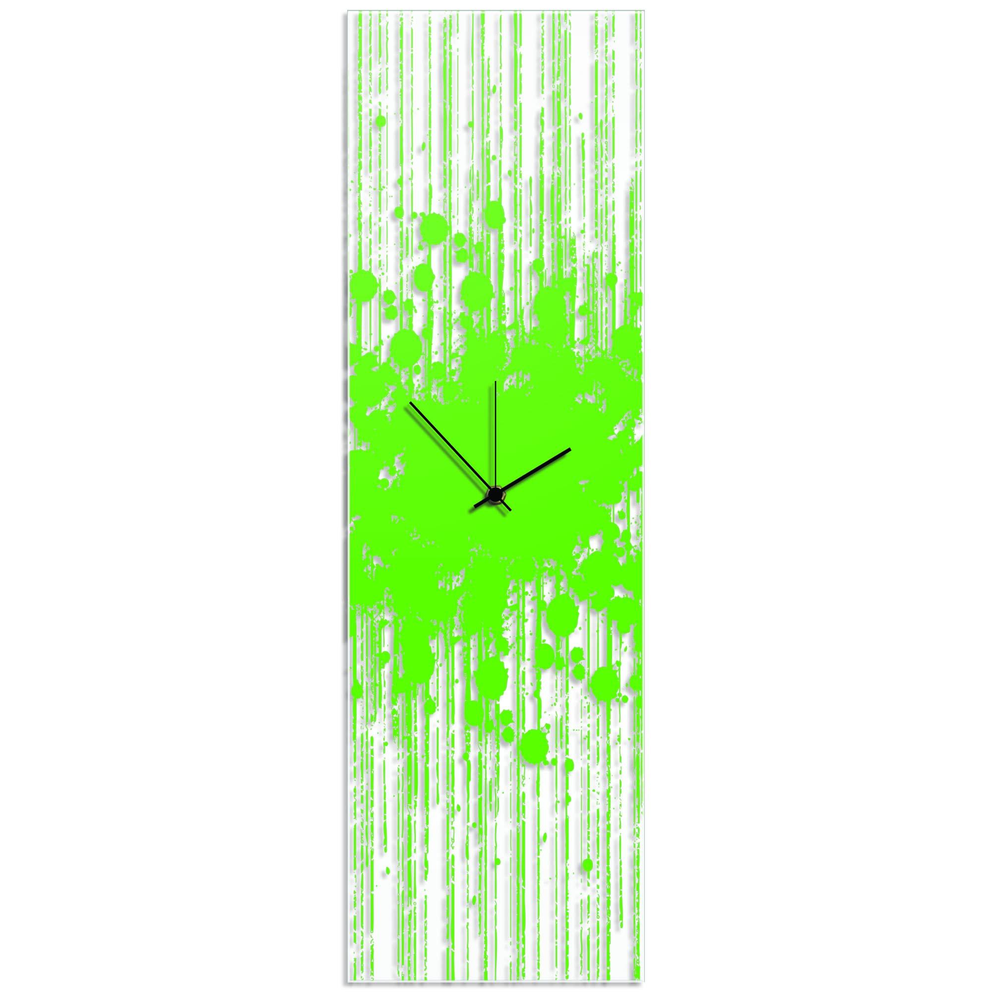 Green Paint Splatter Clock 9x30in. Plexiglass