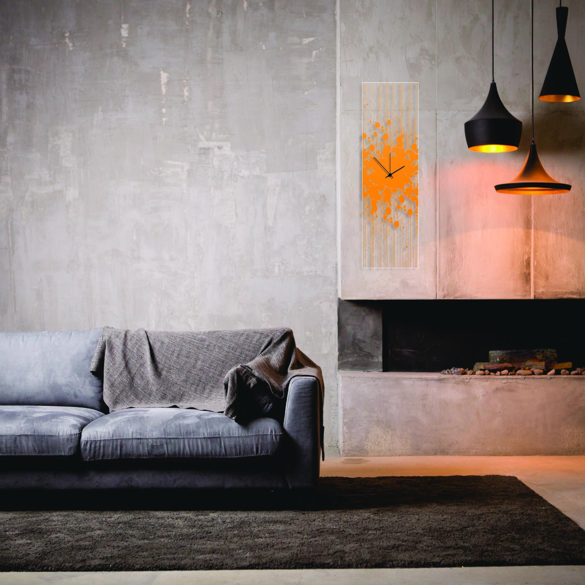 Orange Paint Splatter Clock by Adam Schwoeppe Contemporary Decor on Plexiglass - Lifestyle View