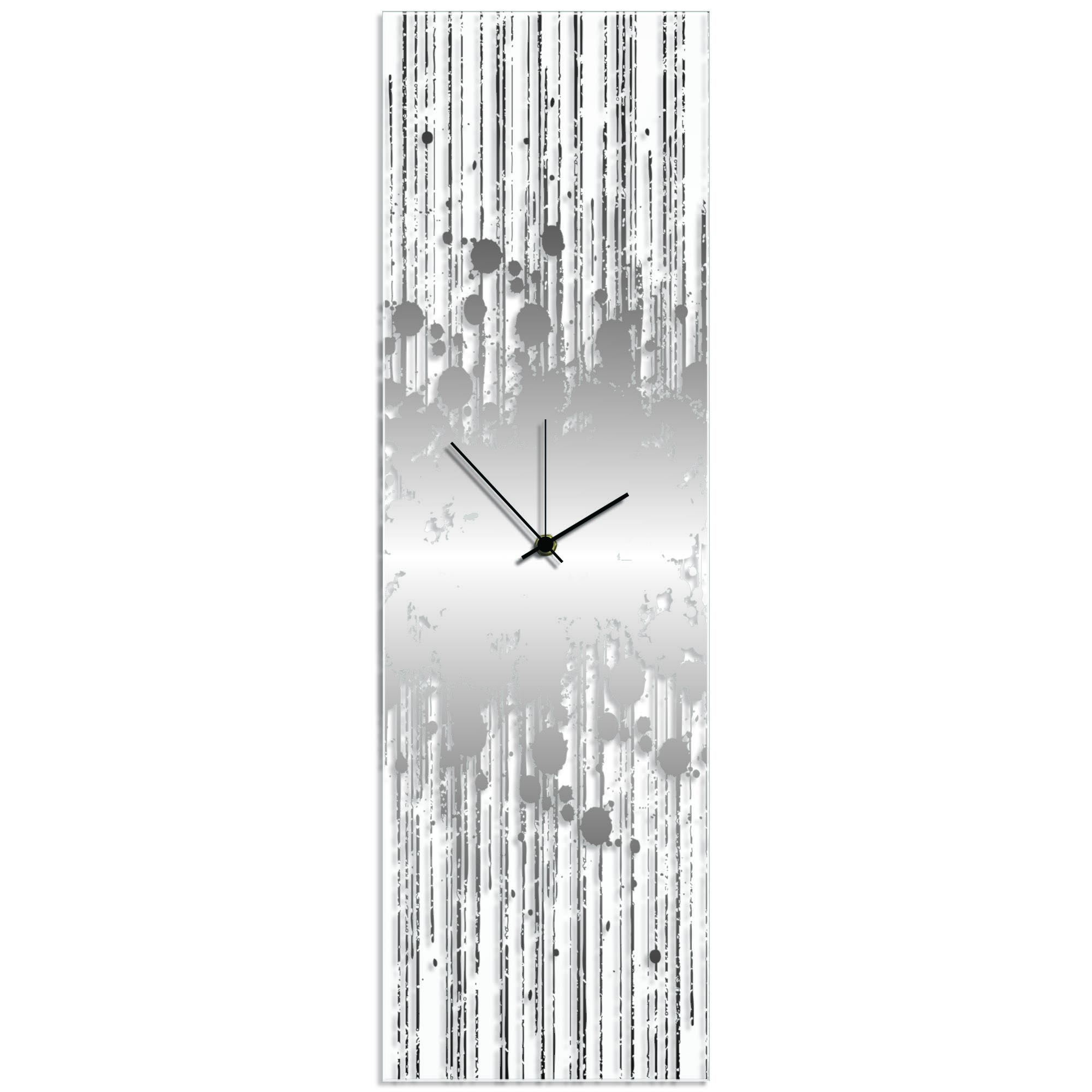 Silver Splatter Clock 9x30in. Plexiglass
