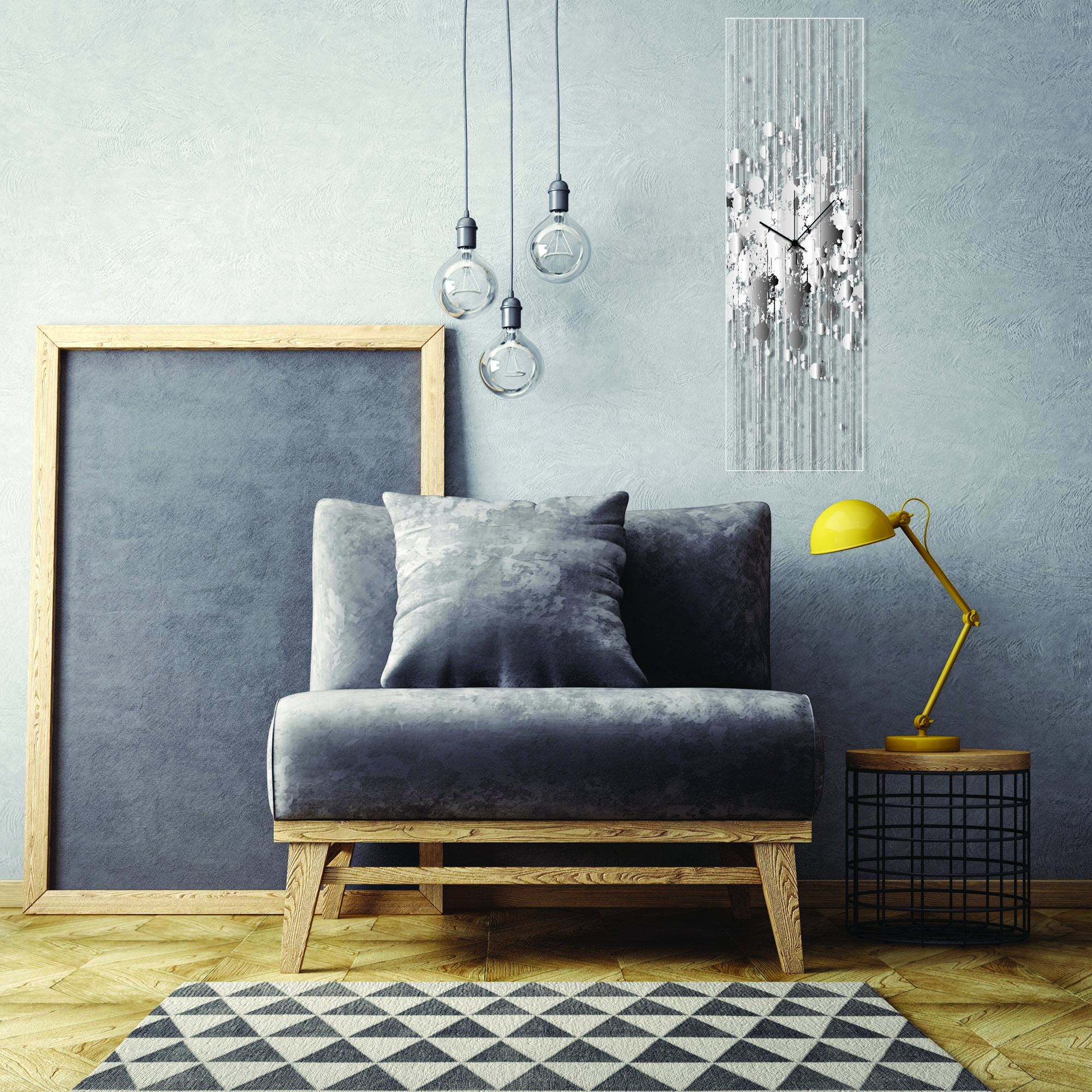 Black and White Paint Splatter Clock by Adam Schwoeppe Contemporary Decor on Plexiglass - Lifestyle View