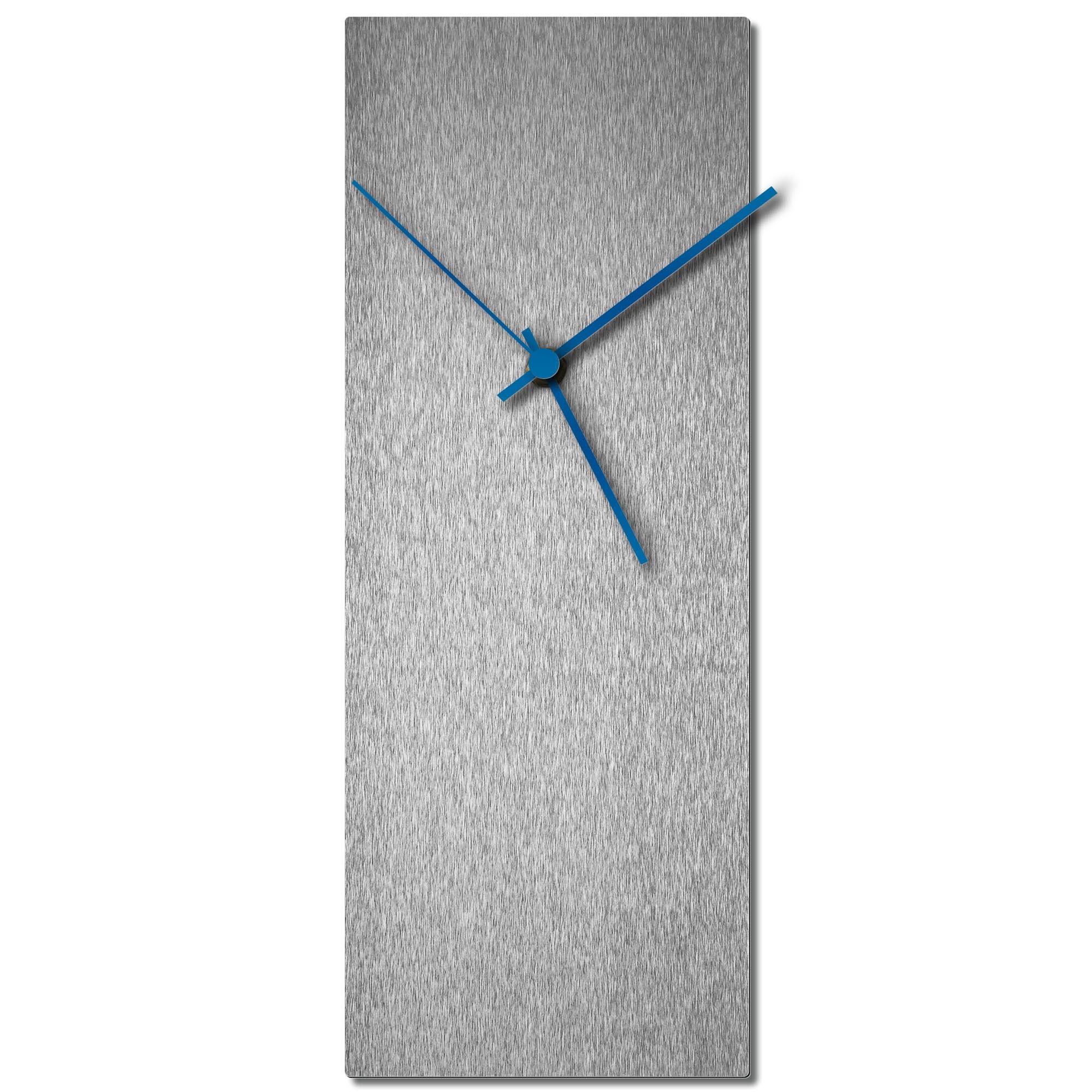 Adam Schwoeppe 'Silversmith Clock Blue' Midcentury Modern Style Wall Clock