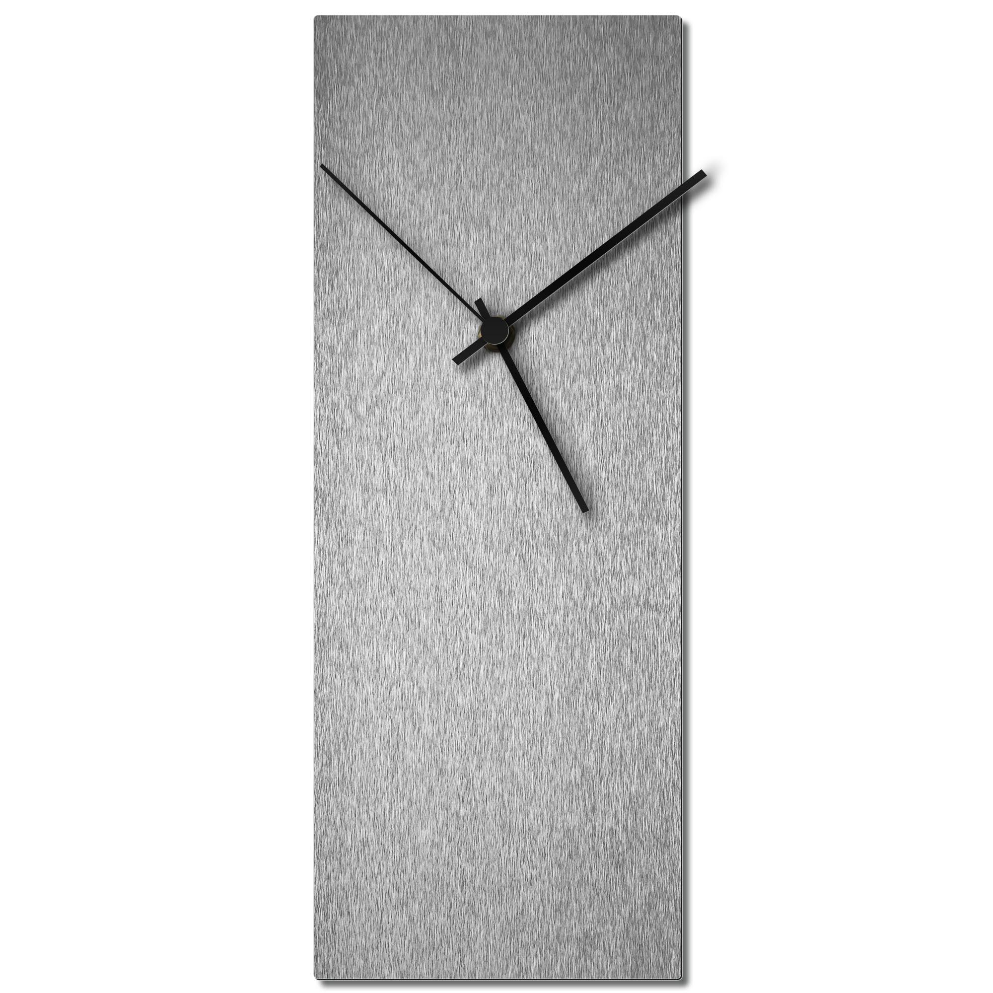 Adam Schwoeppe 'Silversmith Clock Large Black' Midcentury Modern Style Wall Clock