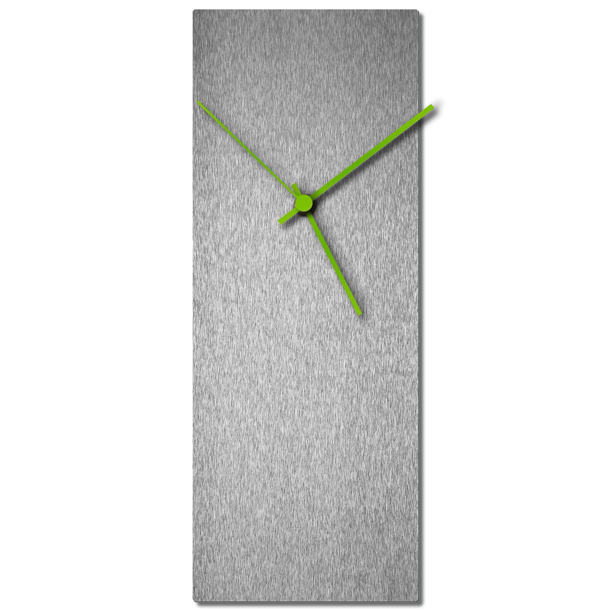 Adam Schwoeppe 'Silversmith Clock Large Green' Midcentury Modern Style Wall Clock