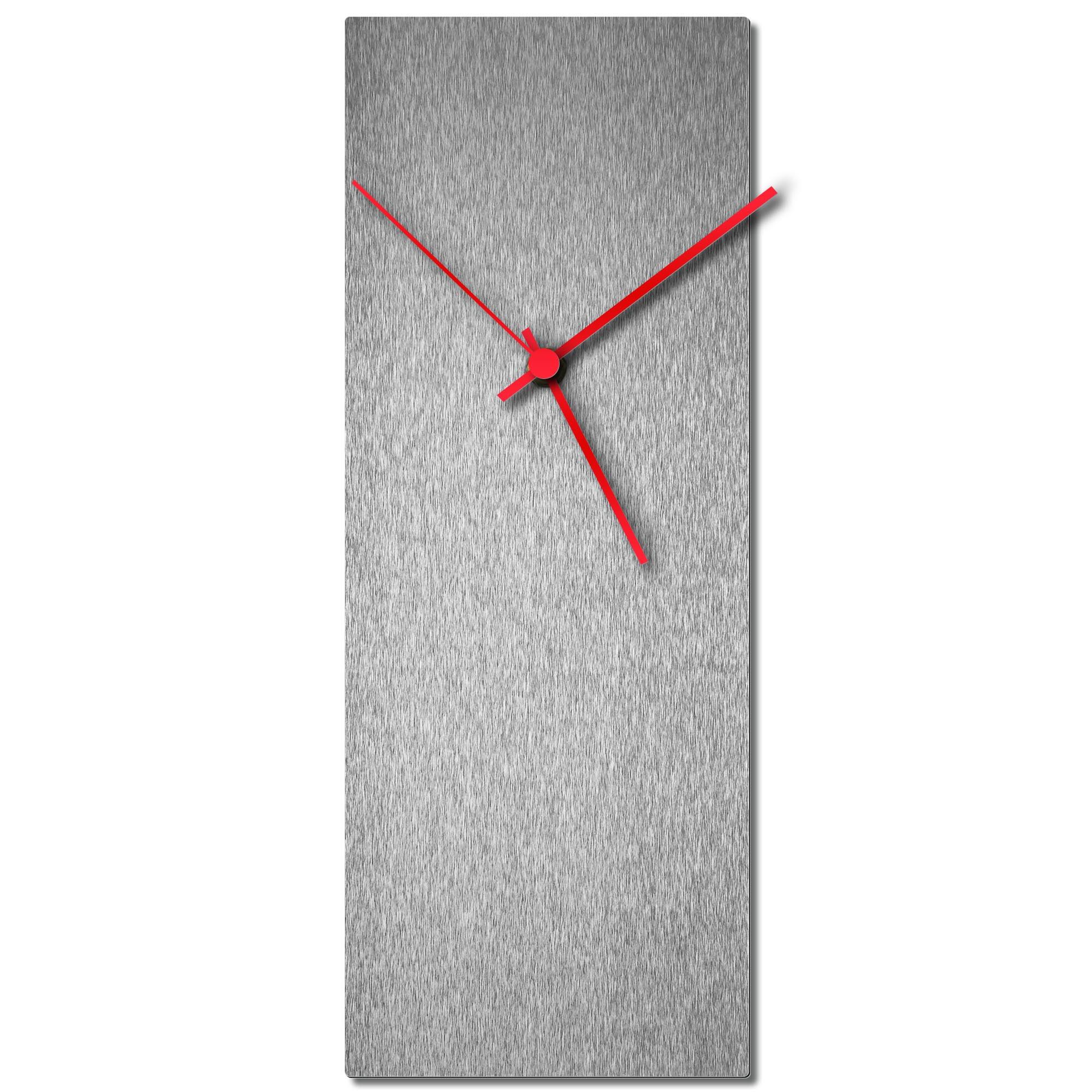 Adam Schwoeppe 'Silversmith Clock Red' Midcentury Modern Style Wall Clock