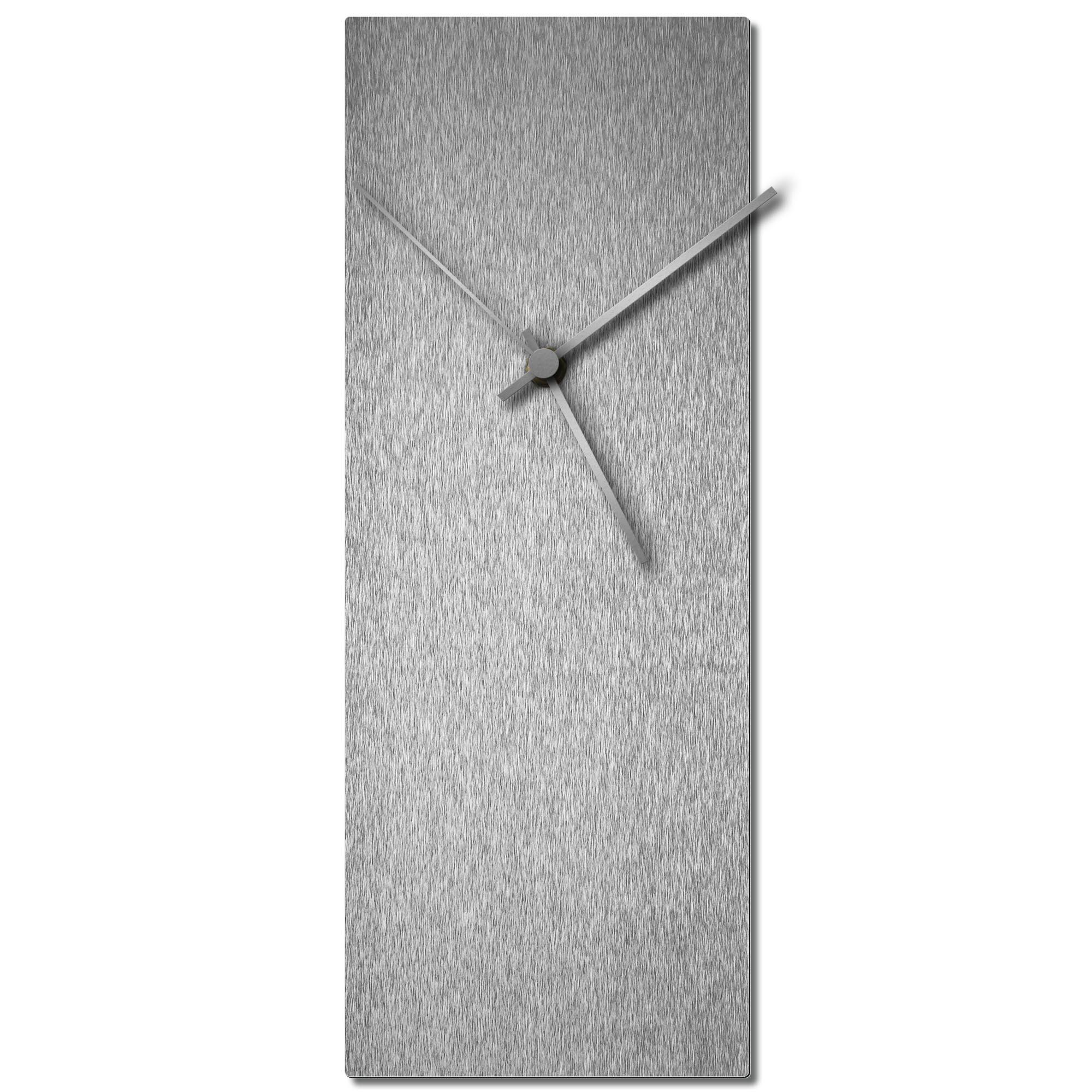 Adam Schwoeppe 'Silversmith Clock Silver' Midcentury Modern Style Wall Clock
