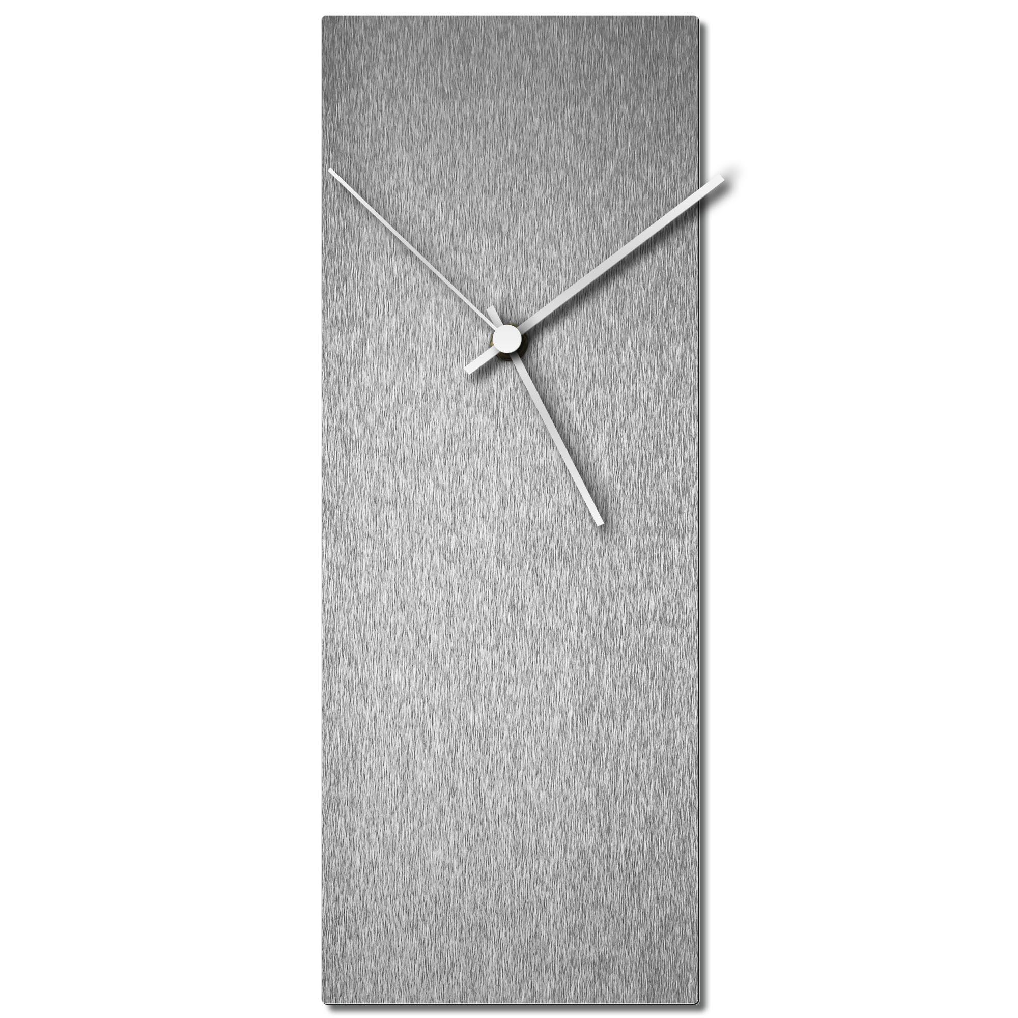 Adam Schwoeppe 'Silversmith Clock White' Midcentury Modern Style Wall Clock