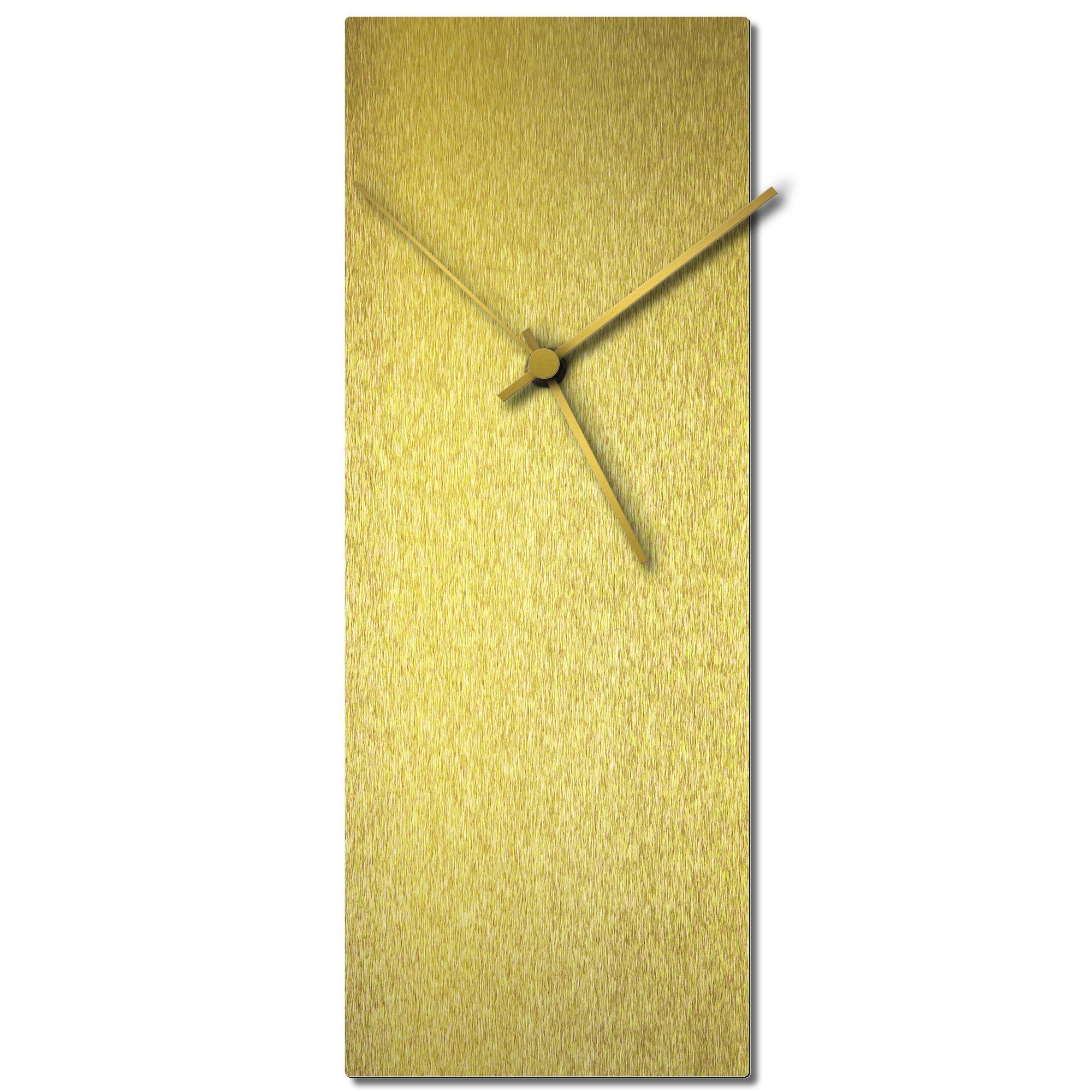 Adam Schwoeppe 'Goldsmith Clock Gold' Midcentury Modern Style Wall Clock