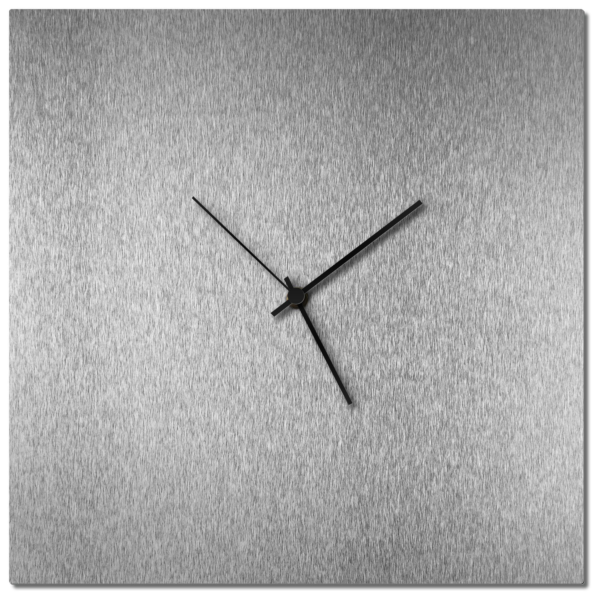 Adam Schwoeppe 'Silversmith Square Clock Black' Midcentury Modern Style Wall Clock