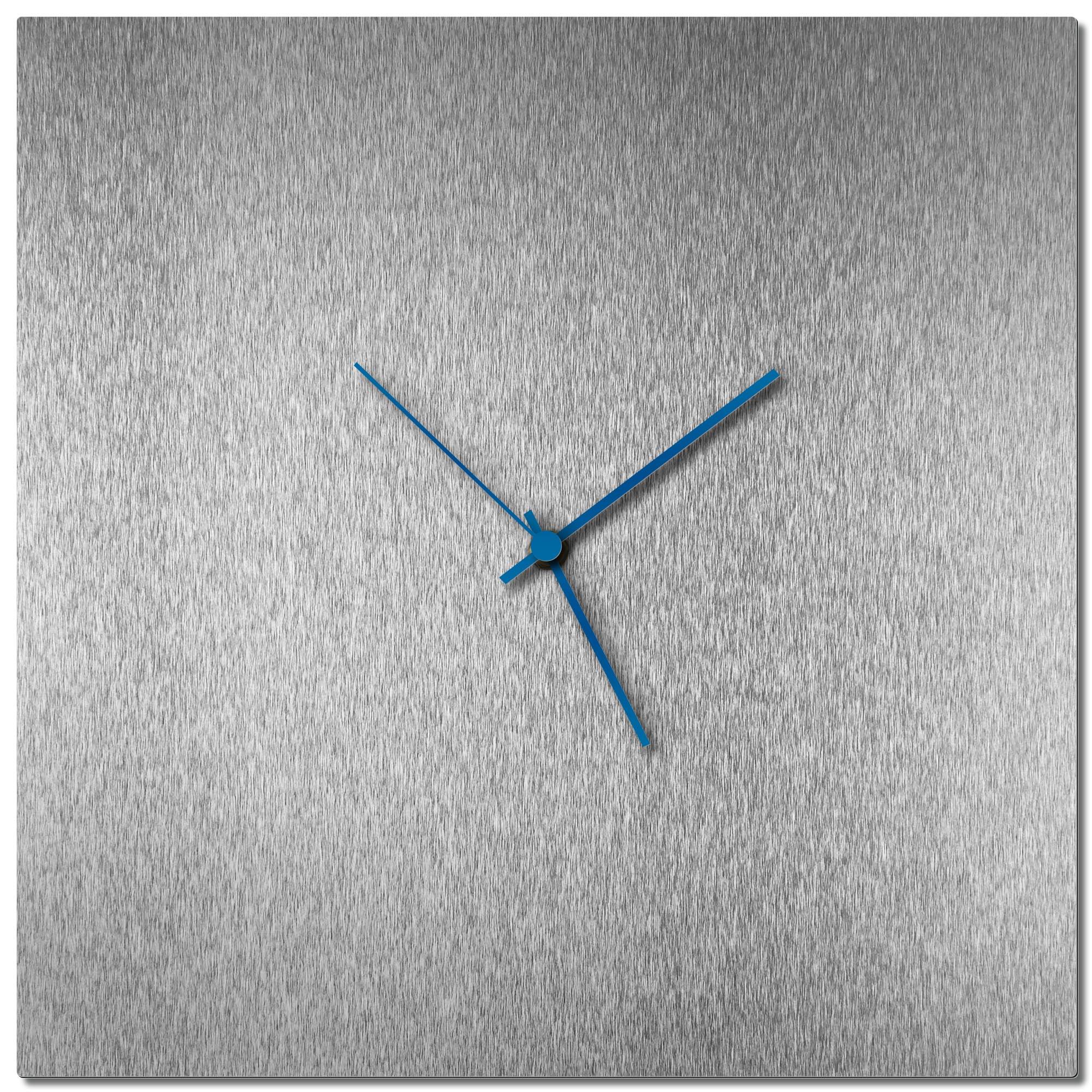 Adam Schwoeppe 'Silversmith Square Clock Blue' Midcentury Modern Style Wall Clock
