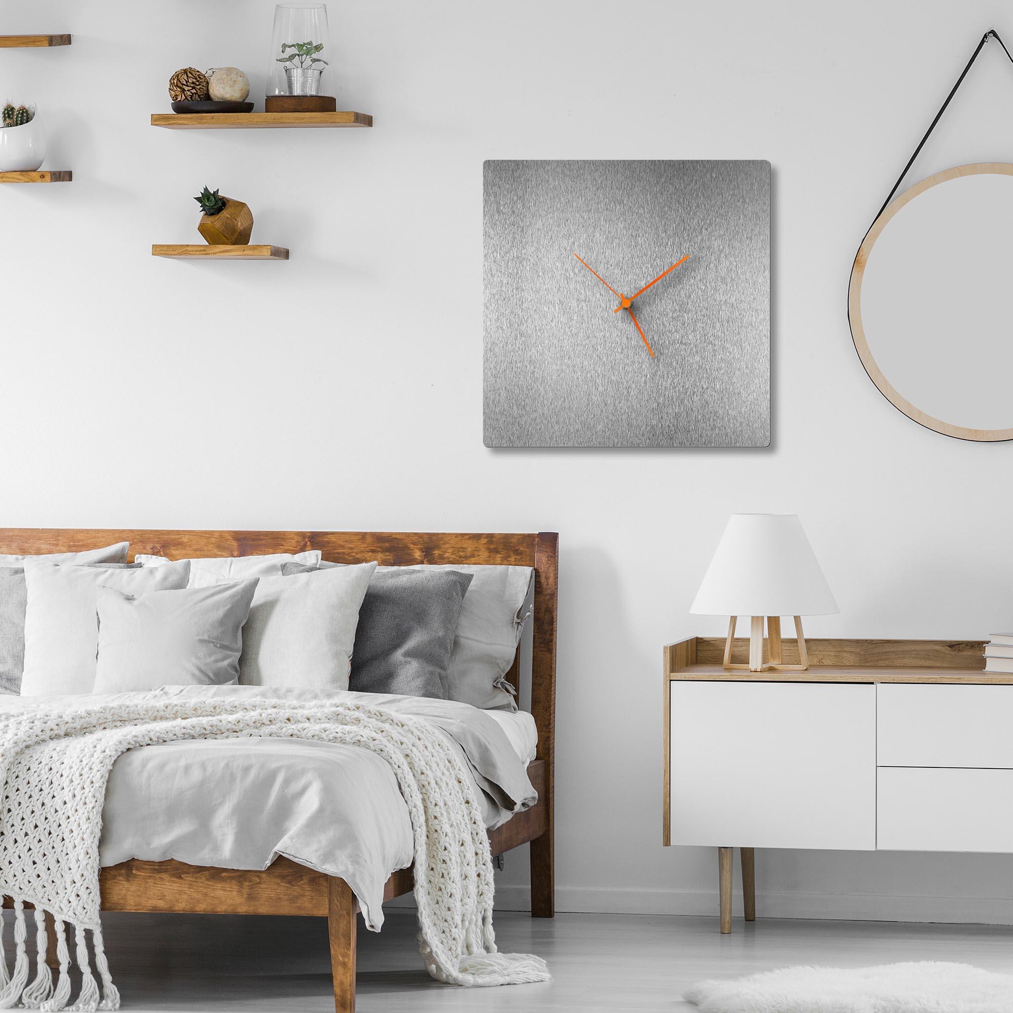 Silversmith Square Clock Large Orange - Lifestyle View