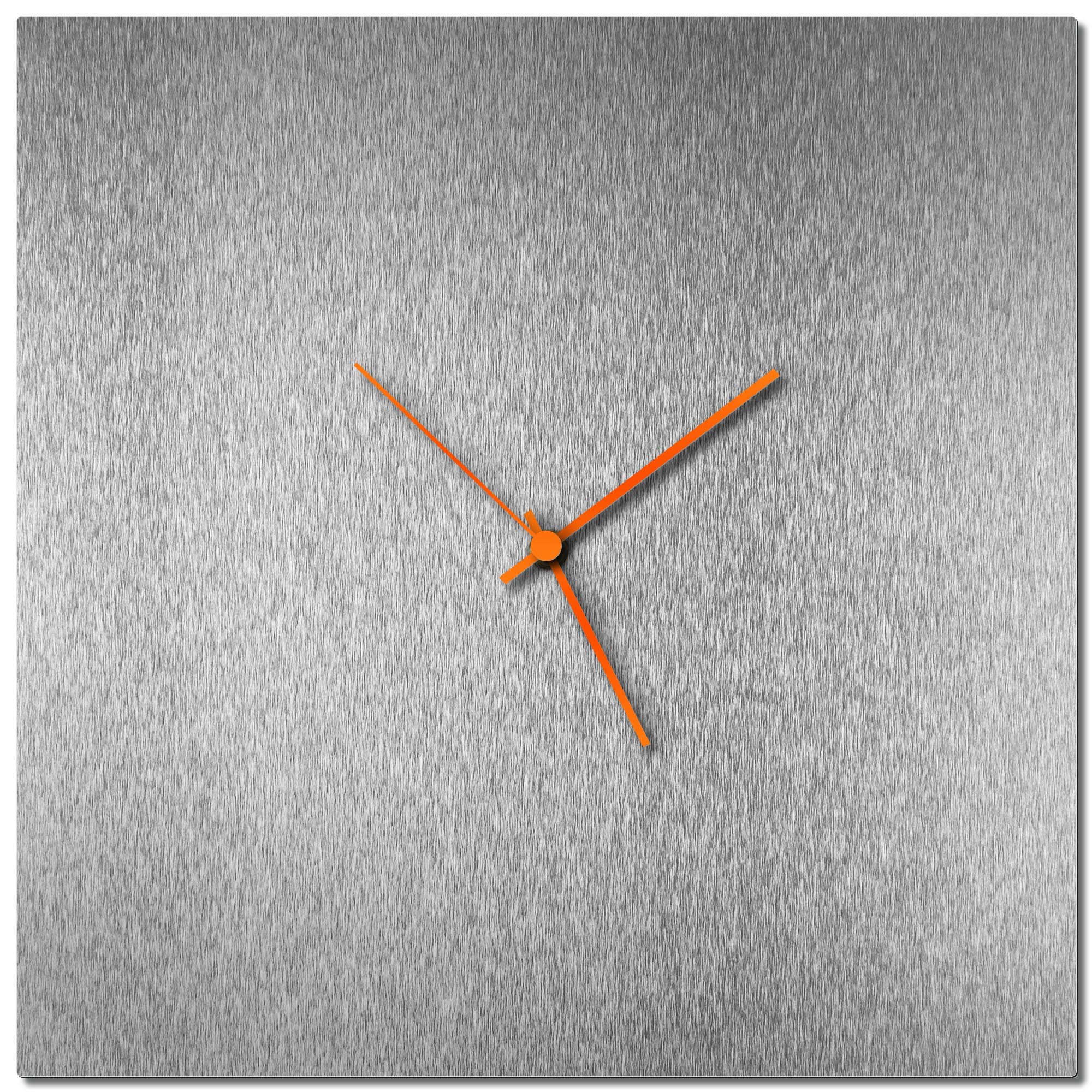 Adam Schwoeppe 'Silversmith Square Clock Large Orange' Midcentury Modern Style Wall Clock