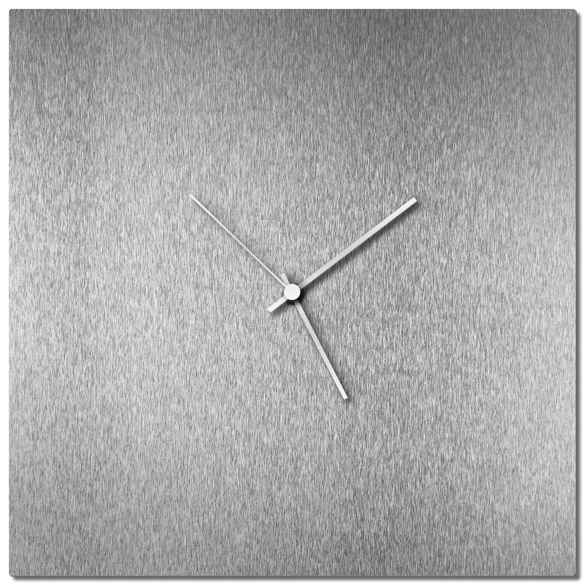 Adam Schwoeppe 'Silversmith Square Clock Large White' Midcentury Modern Style Wall Clock