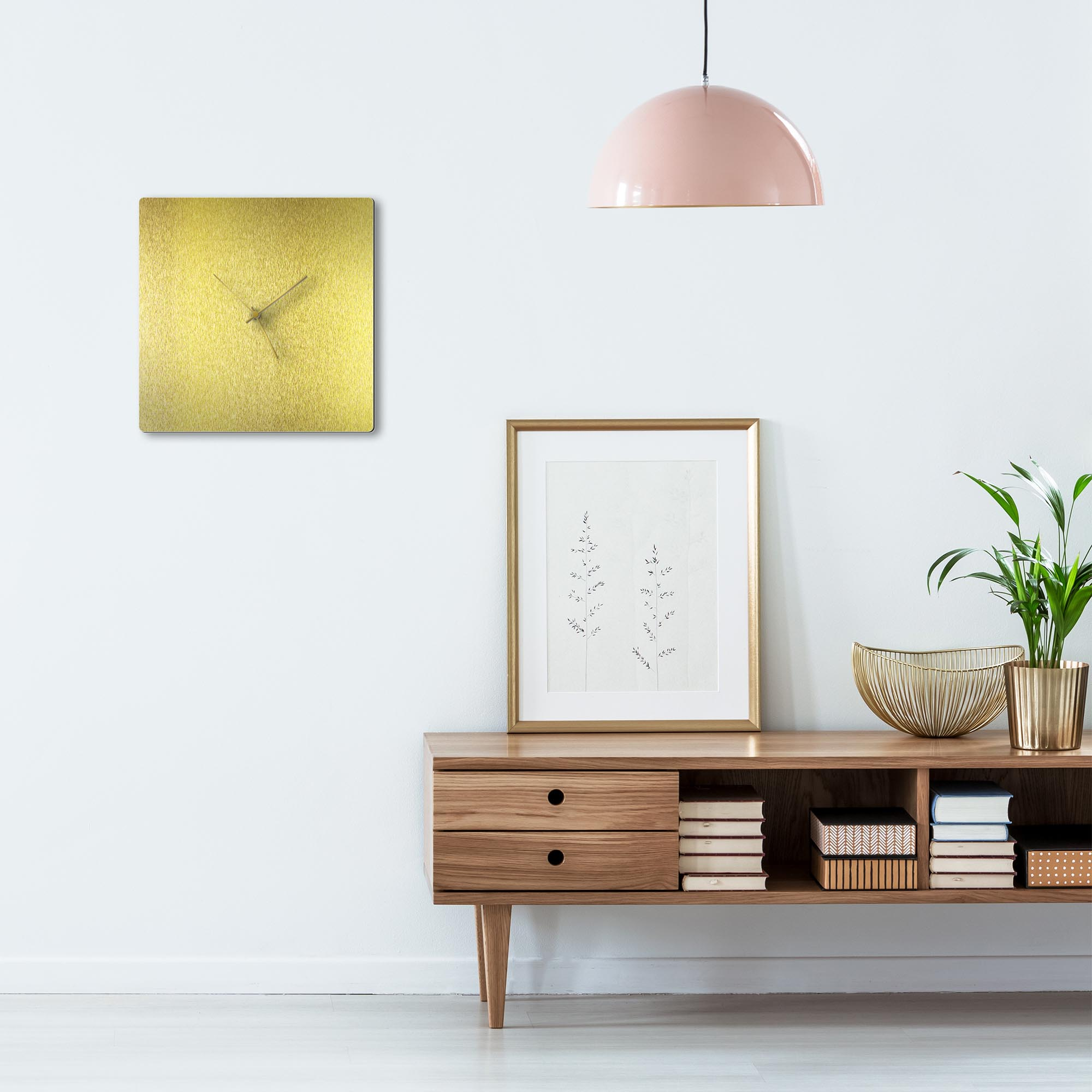 Goldsmith Square Clock Gold - Lifestyle View