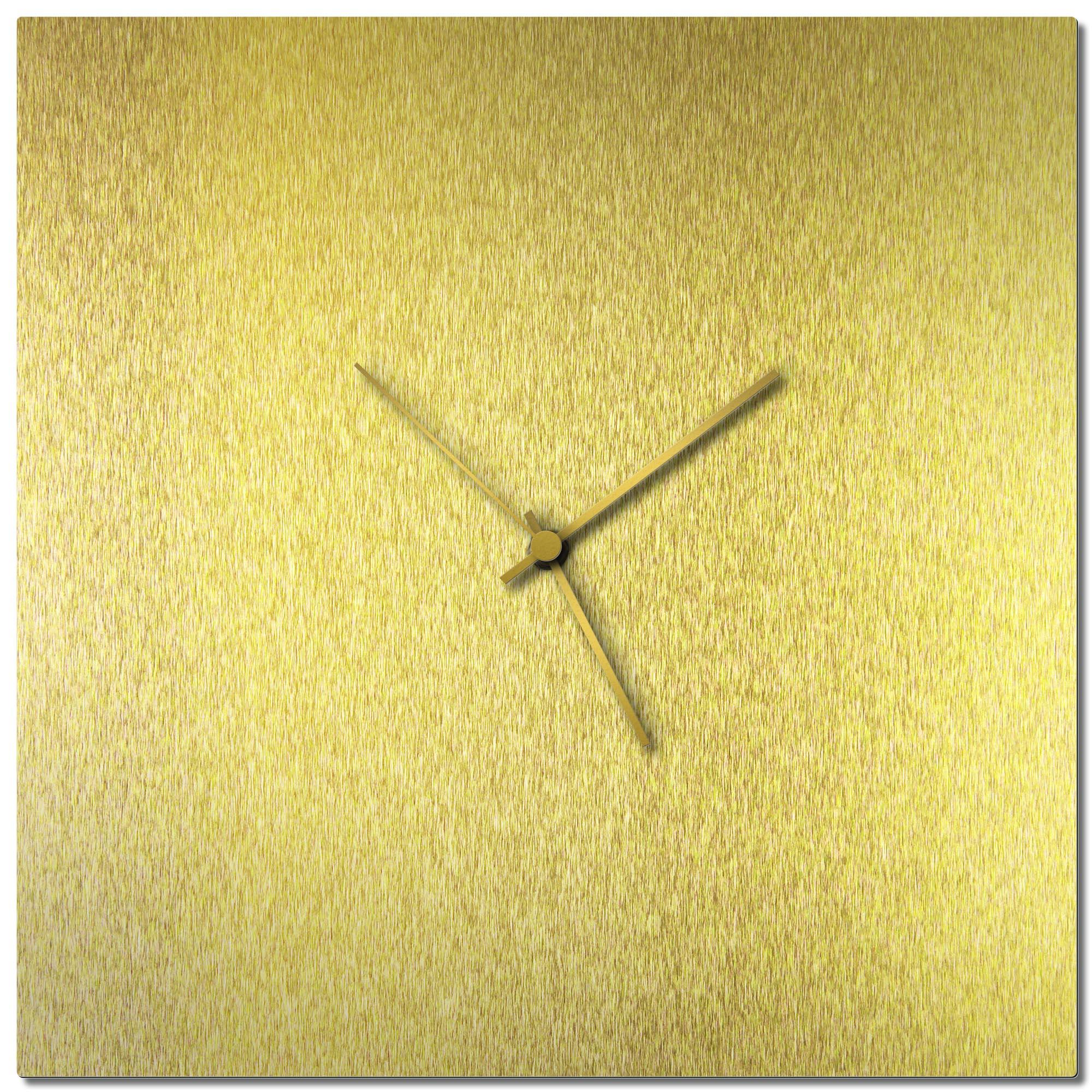Adam Schwoeppe 'Goldsmith Square Clock Gold' Midcentury Modern Style Wall Clock