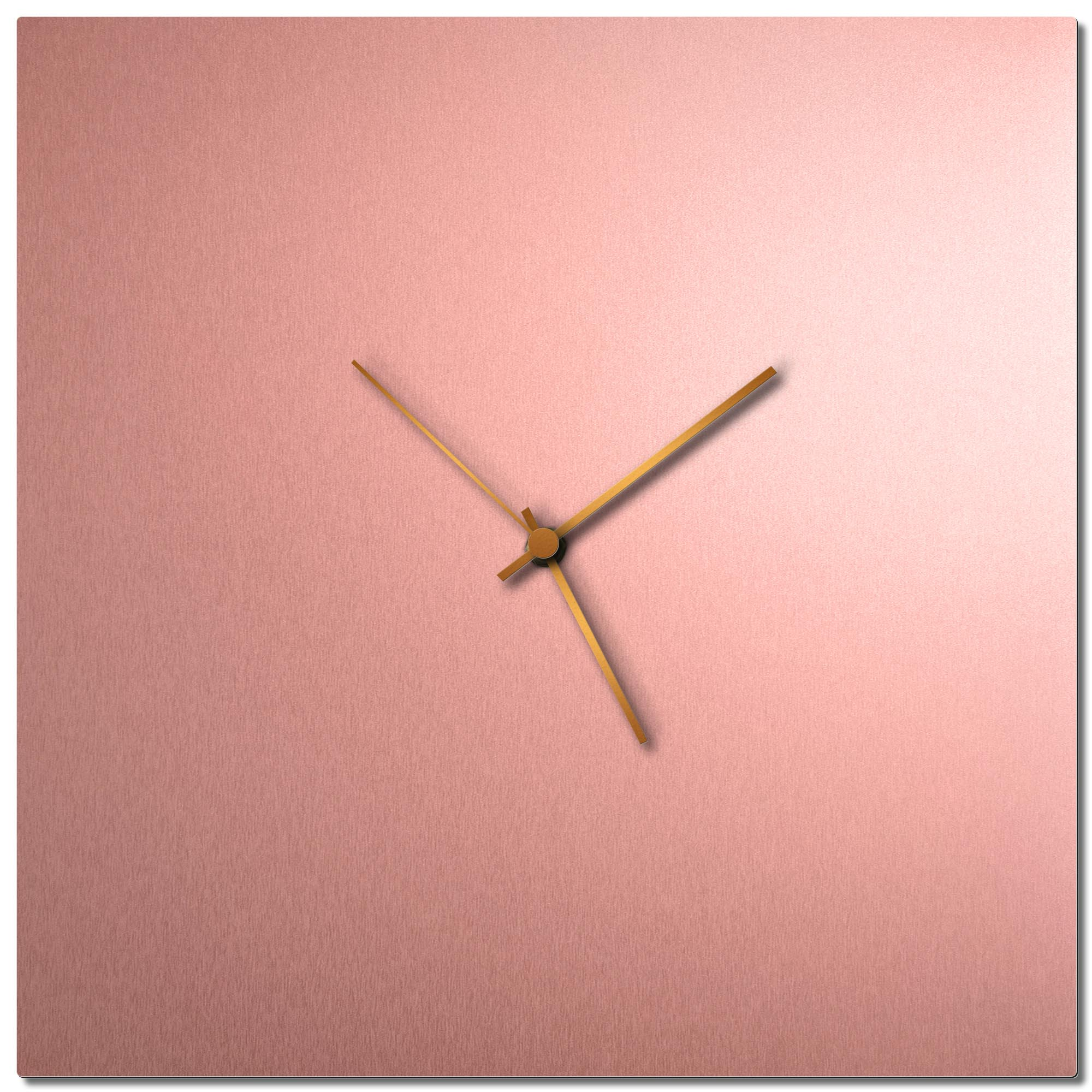 Adam Schwoeppe 'Coppersmith Square Clock Large Bronze' Midcentury Modern Style Wall Clock