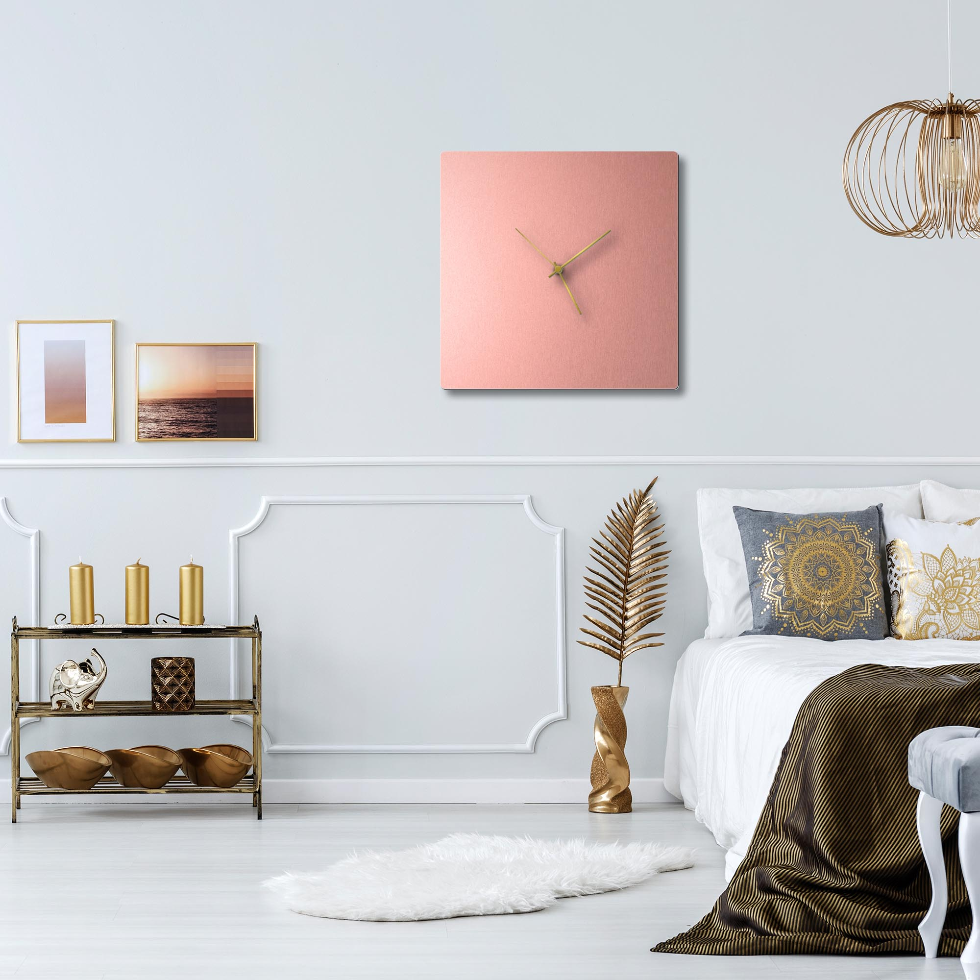 Coppersmith Square Clock Large Gold - Lifestyle View