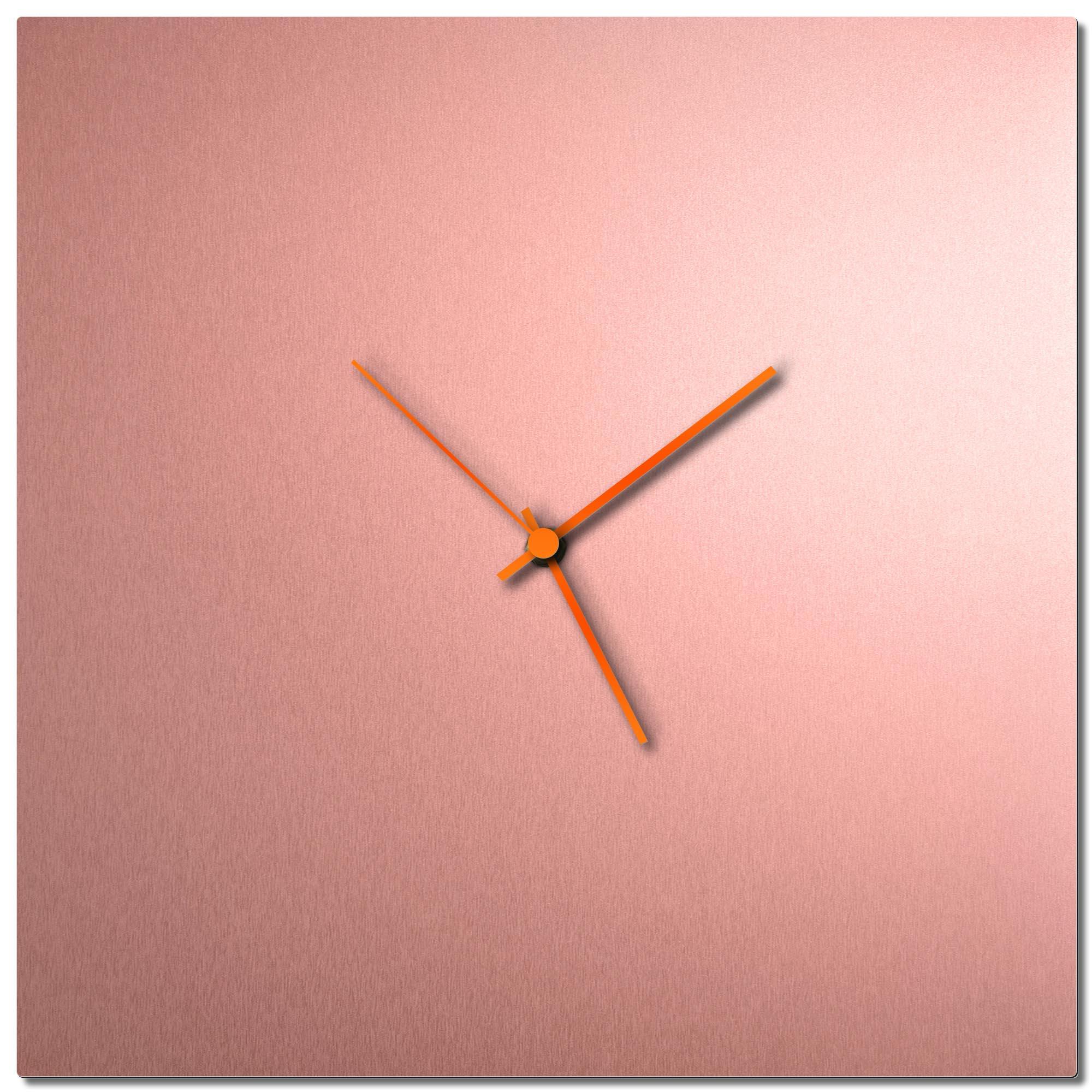 Adam Schwoeppe 'Coppersmith Square Clock Large Orange' Midcentury Modern Style Wall Clock