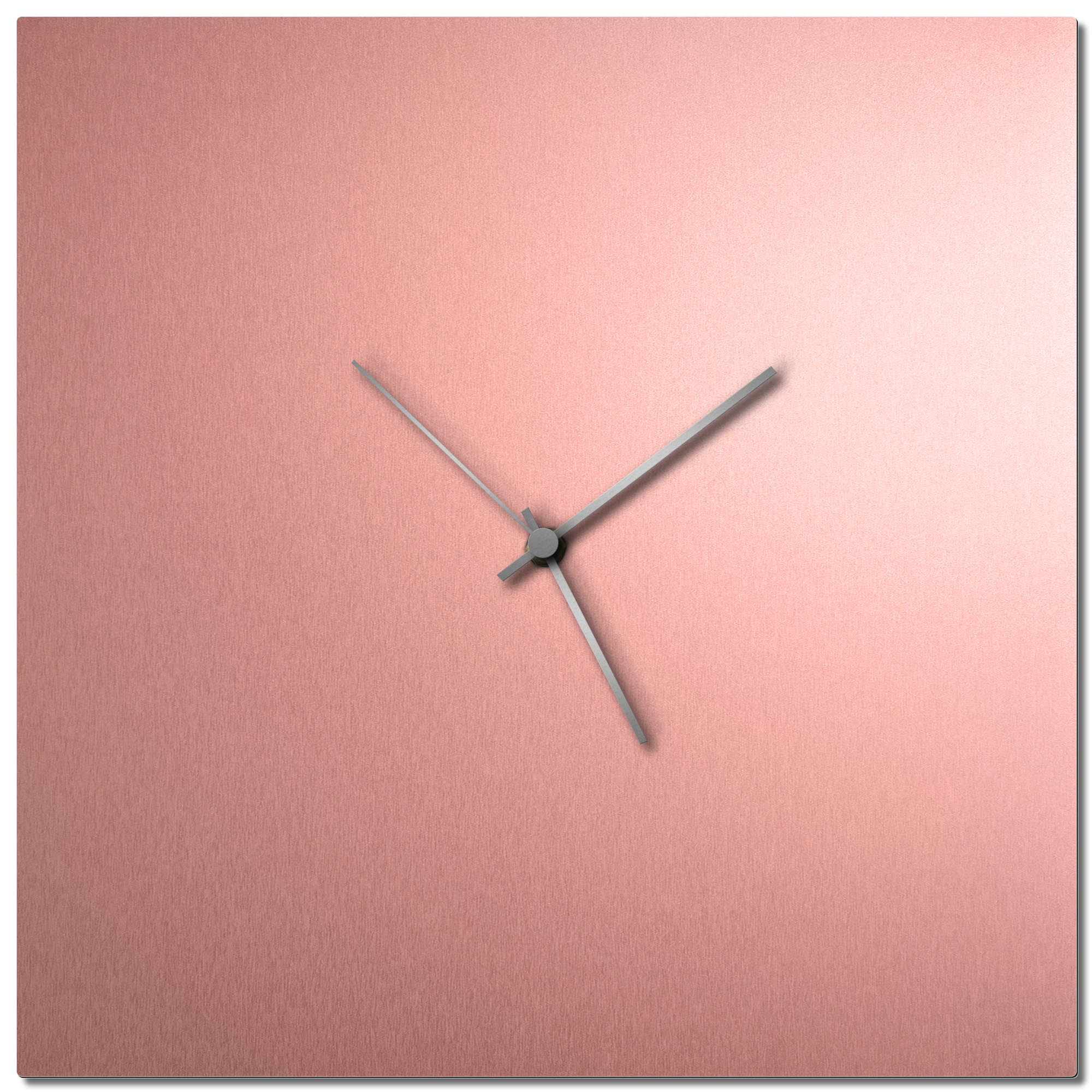 Adam Schwoeppe 'Coppersmith Square Clock Large Silver' Midcentury Modern Style Wall Clock