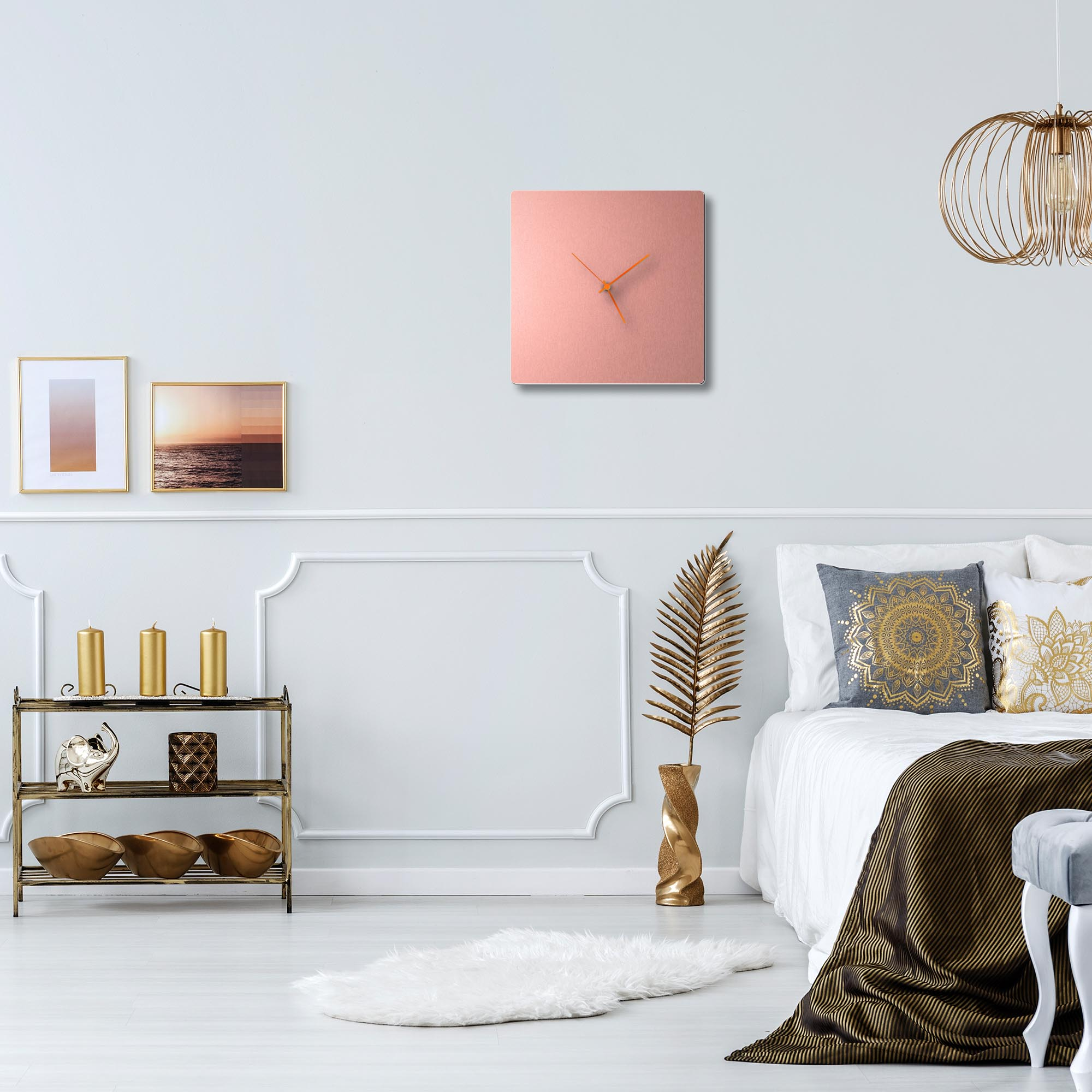 Coppersmith Square Clock Orange - Lifestyle View