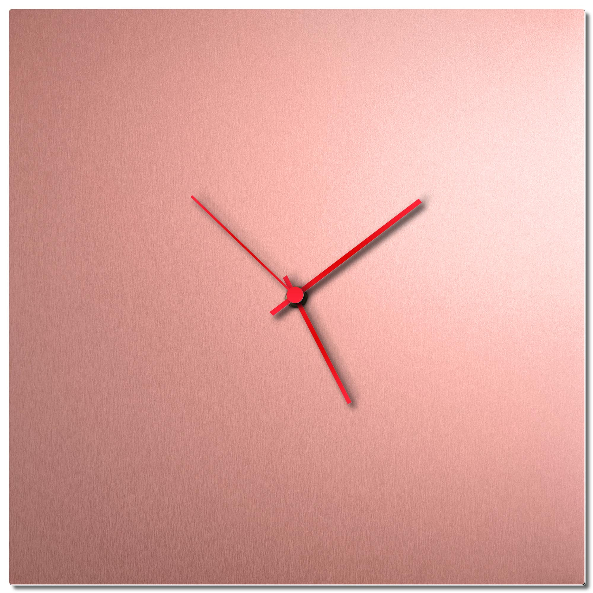 Adam Schwoeppe 'Coppersmith Square Clock Red' Midcentury Modern Style Wall Clock