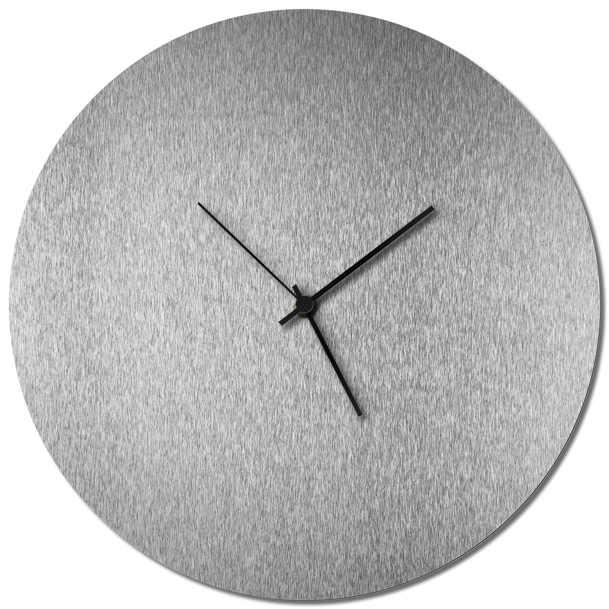 Adam Schwoeppe 'Silversmith Circle Clock Black' Midcentury Modern Style Wall Clock