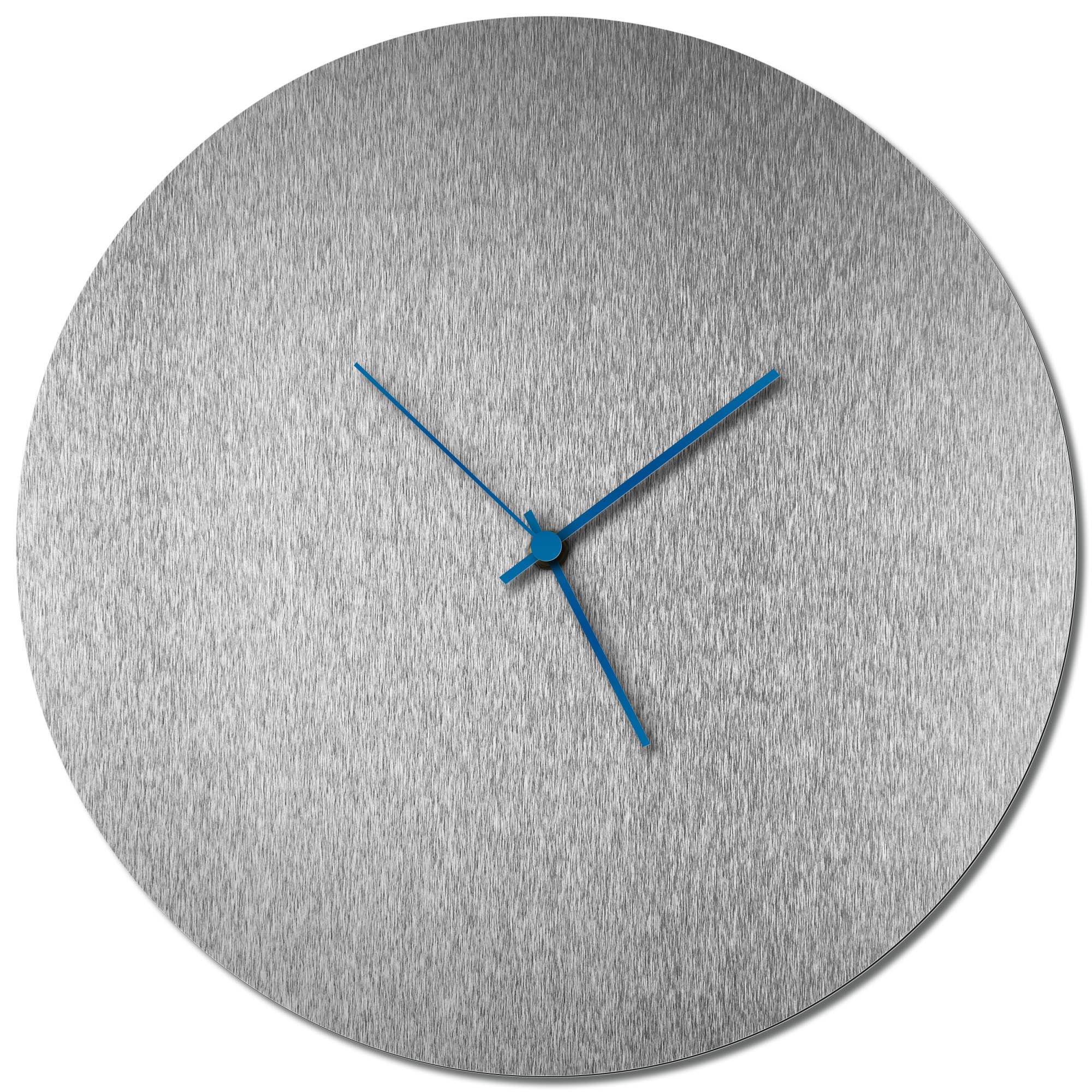 Adam Schwoeppe 'Silversmith Circle Clock Blue' Midcentury Modern Style Wall Clock